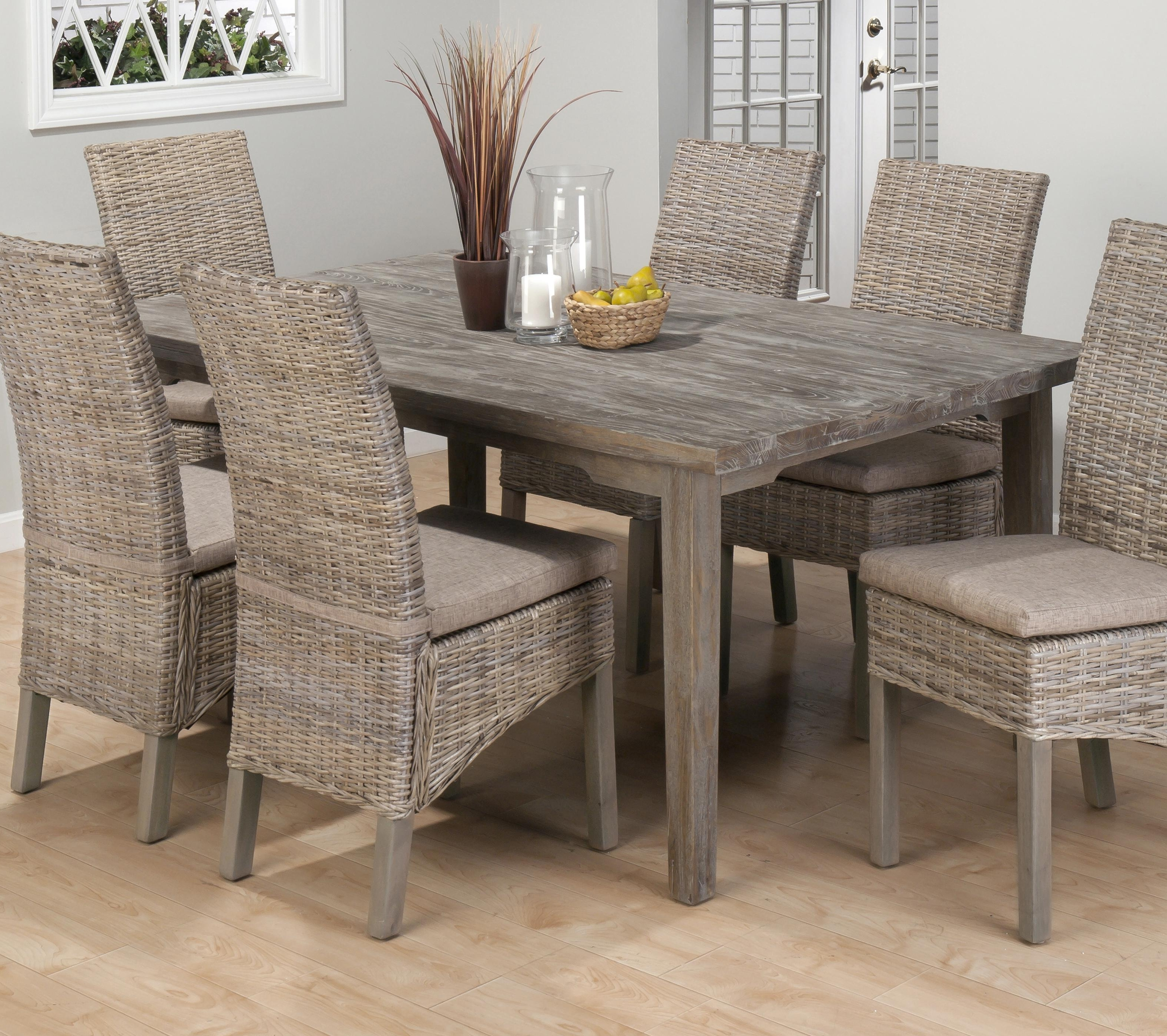 Most Up To Date Burnt Grey Driftwood Dining Table With 6 Rattan Chairs (View 18 of 25)
