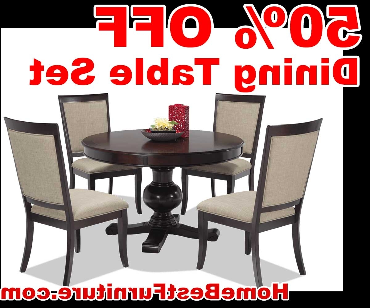 Most Up To Date Caira Black 7 Piece Dining Sets With Upholstered Side Chairs For 50 Percent Off Discount Gatsby Round 5 Piece Dining Set With Side (View 21 of 25)