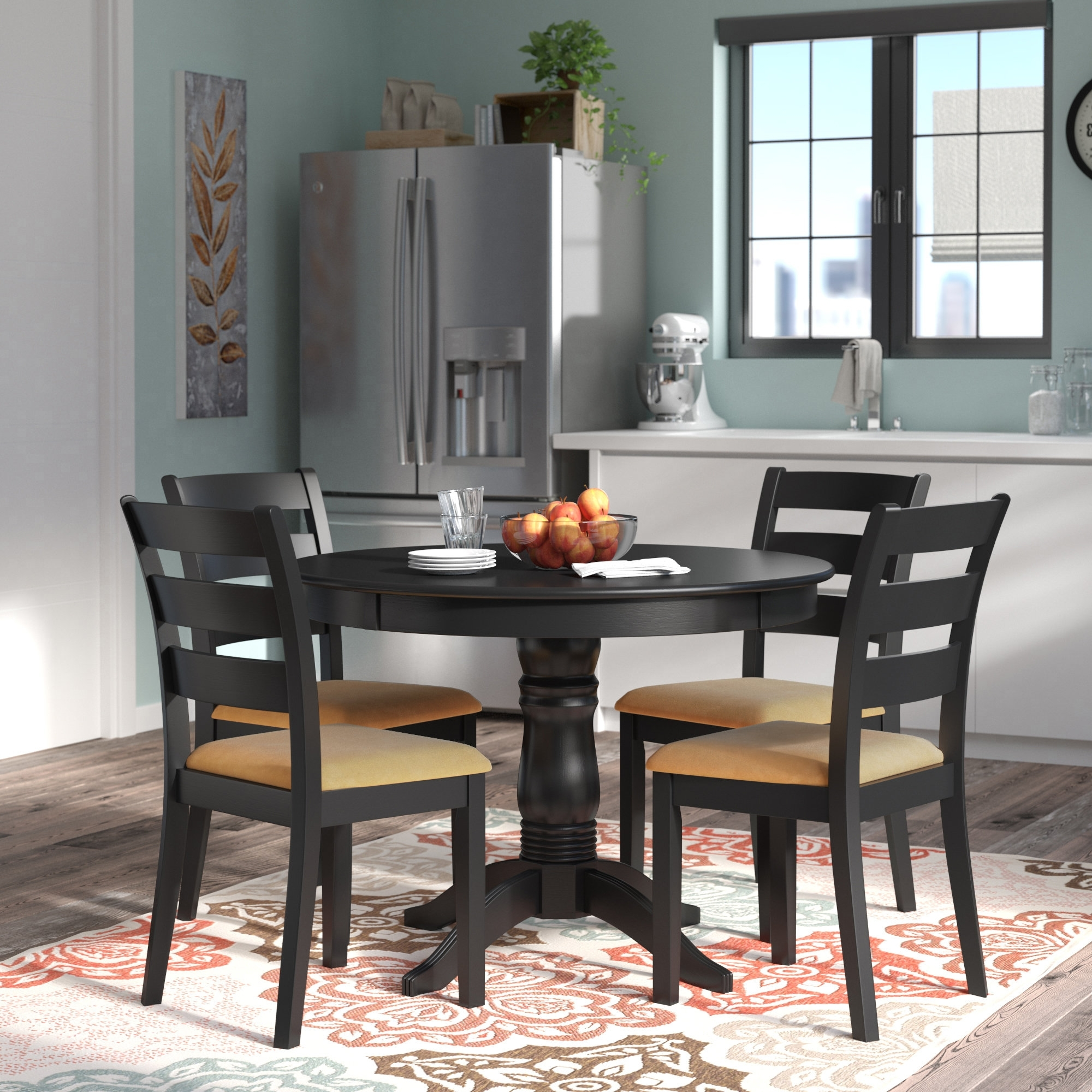 Most Up To Date Candice Ii 5 Piece Round Dining Sets Throughout Andover Mills Oneill Modern 5 Piece Ladder Back Dining Set & Reviews (View 8 of 25)