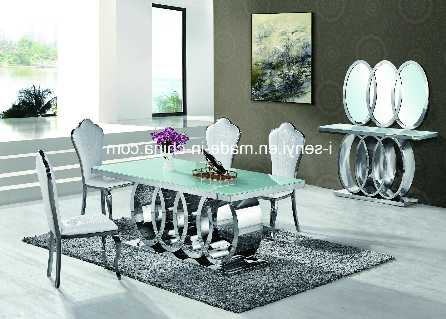 Most Up To Date China Modern Audi Marble Top/tempered Glass Top Stainless Steel With Regard To Glass And Stainless Steel Dining Tables (View 13 of 25)