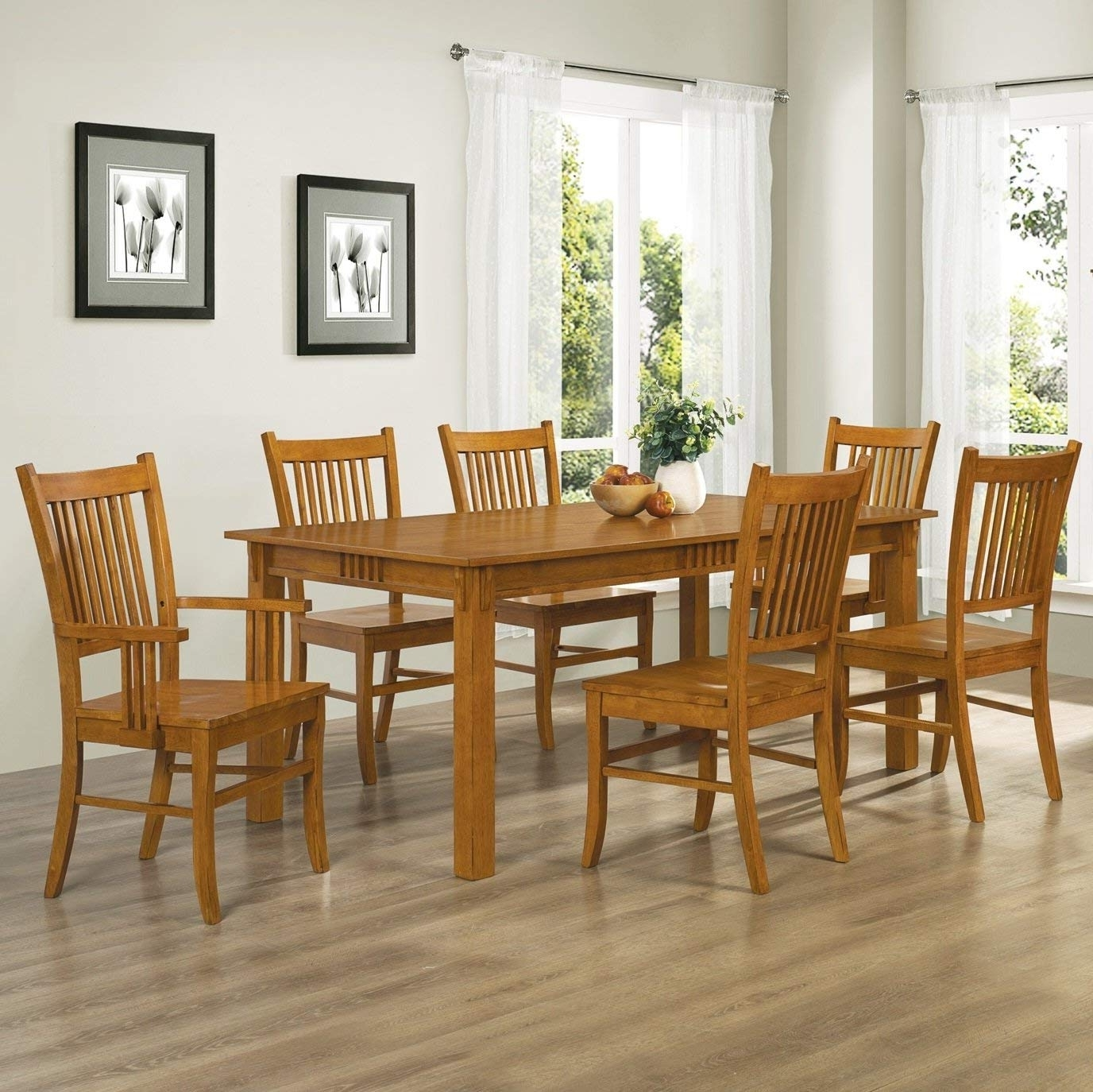 Most Up To Date Craftsman 5 Piece Round Dining Sets With Side Chairs Regarding Amazon – Coaster Home Furnishings 7 Piece Mission Style Solid (View 7 of 25)