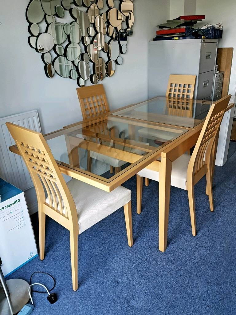 Most Up To Date Cream And Wood Dining Tables In Calligaris Extendable Glass Wood Dining Table + 4 Cream Chairs (View 16 of 25)