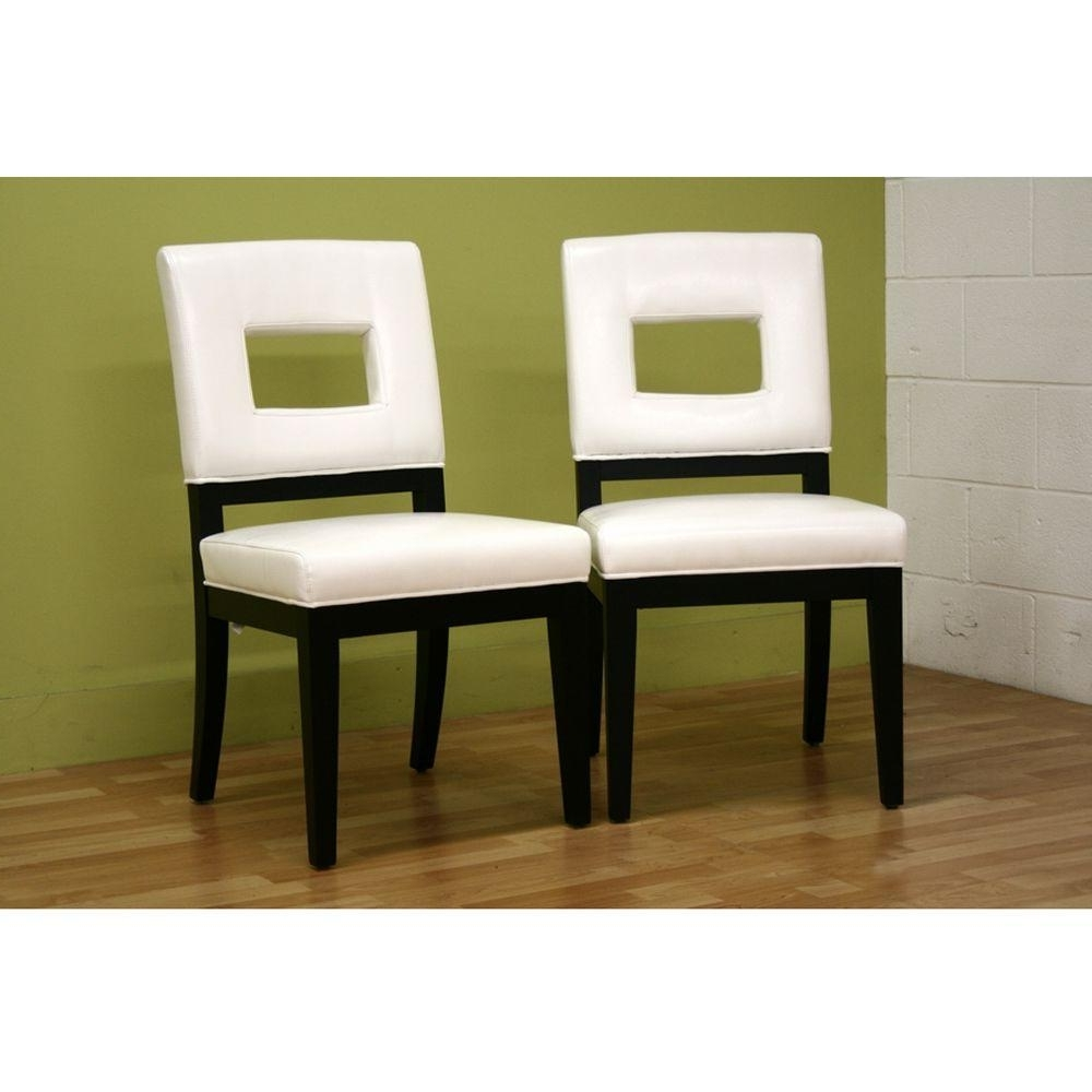 Most Up To Date Cream Faux Leather Dining Chairs With Regard To Baxton Studio Faustino White Faux Leather Upholstered Dining Chairs (Gallery 15 of 25)