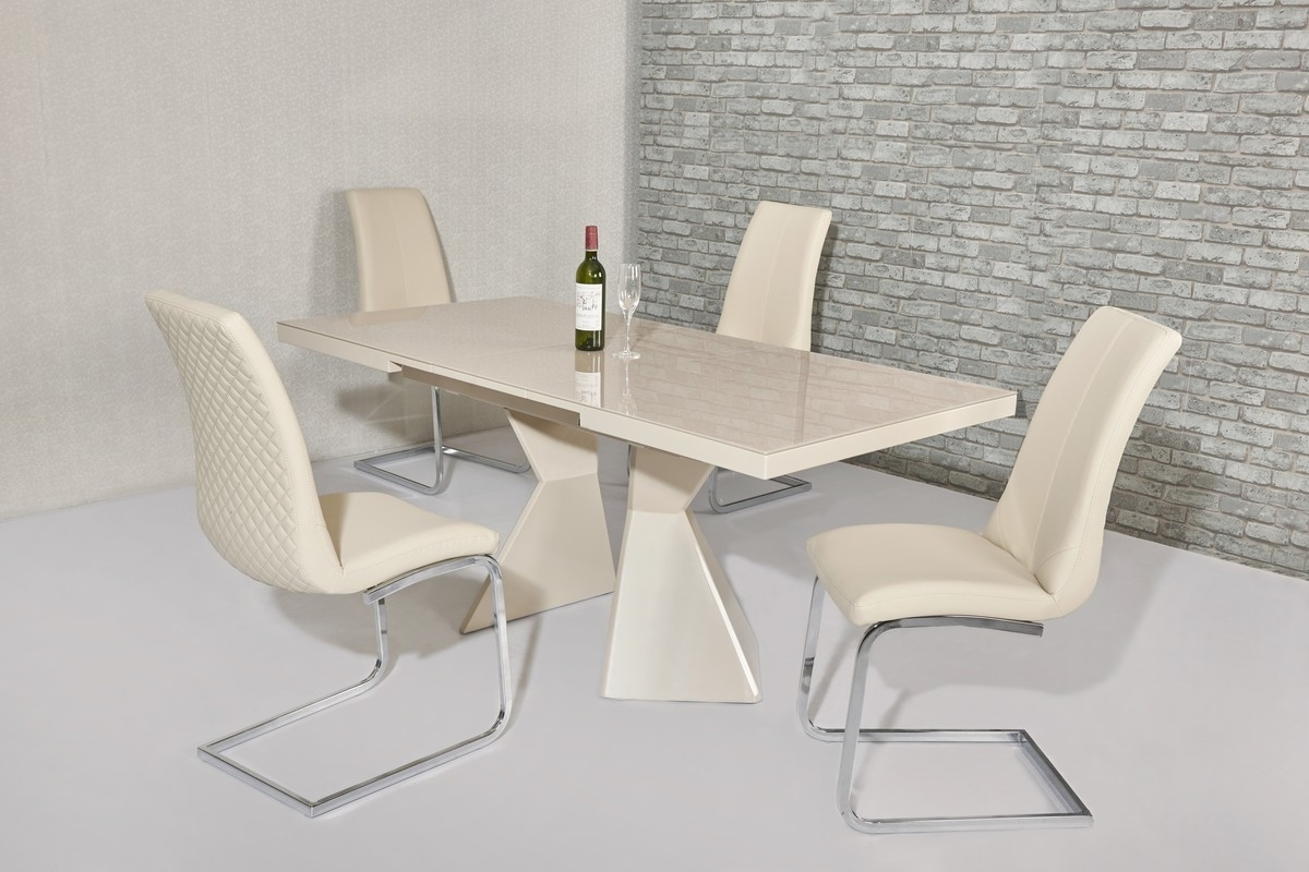 Most Up To Date Cream Gloss Dining Tables And Chairs Intended For Havannah Cream Extendable High Gloss Dining Table With Funky Legs (View 11 of 25)