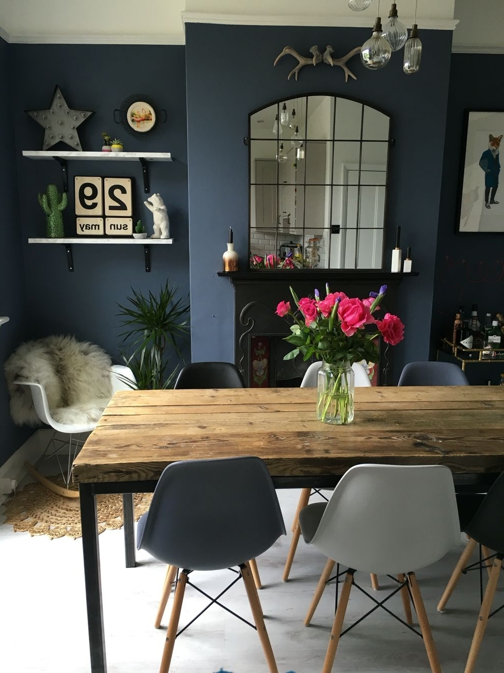 Most Up To Date Dark Dining Room Tables With Dining Room Decor: Fall In Love With This Blue Dining Room That Will (View 15 of 25)