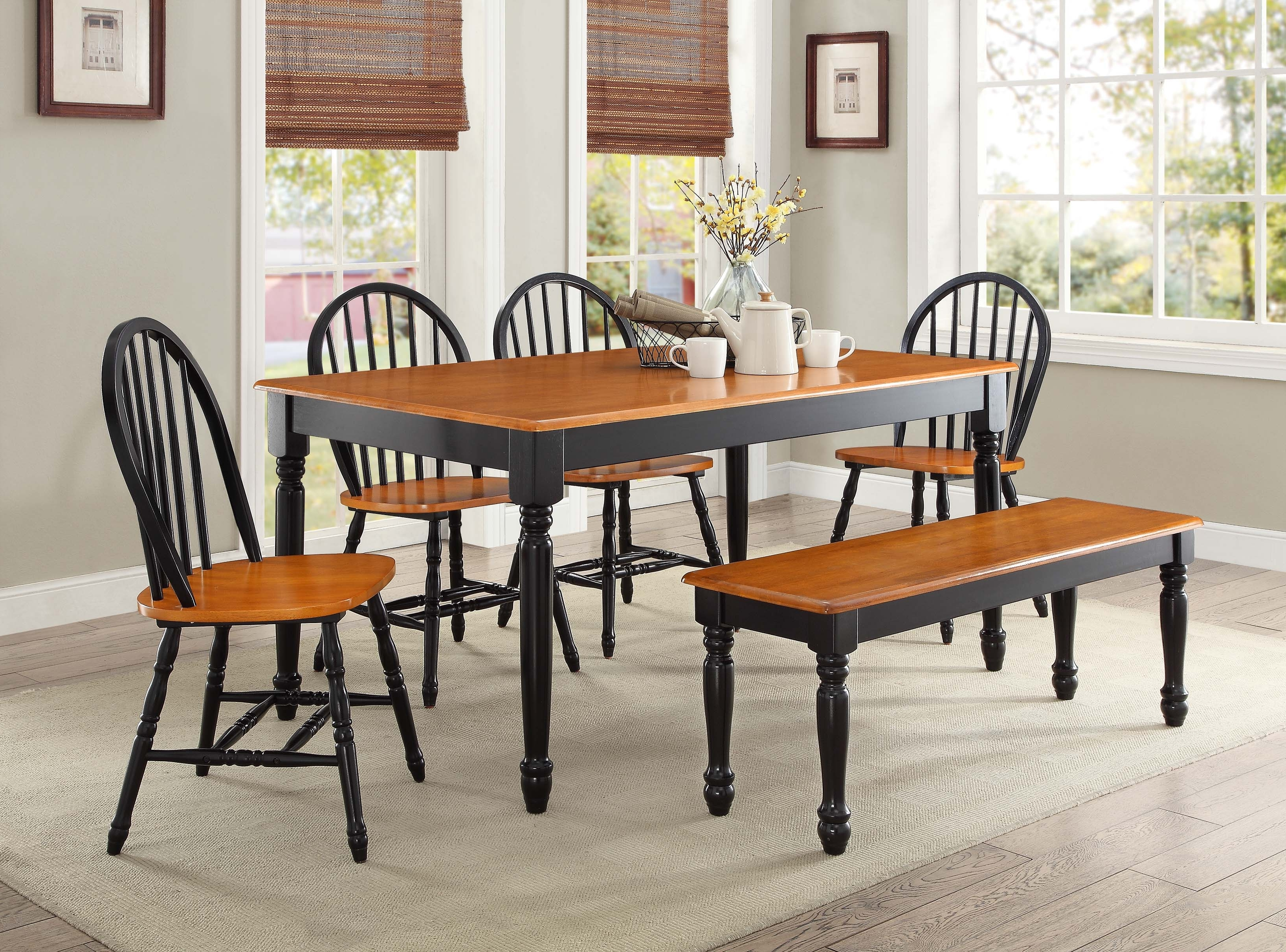 Most Up To Date Dark Wood Dining Tables And 6 Chairs Throughout Better Homes And Gardens Autumn Lane Farmhouse Dining Table, Black (View 17 of 25)
