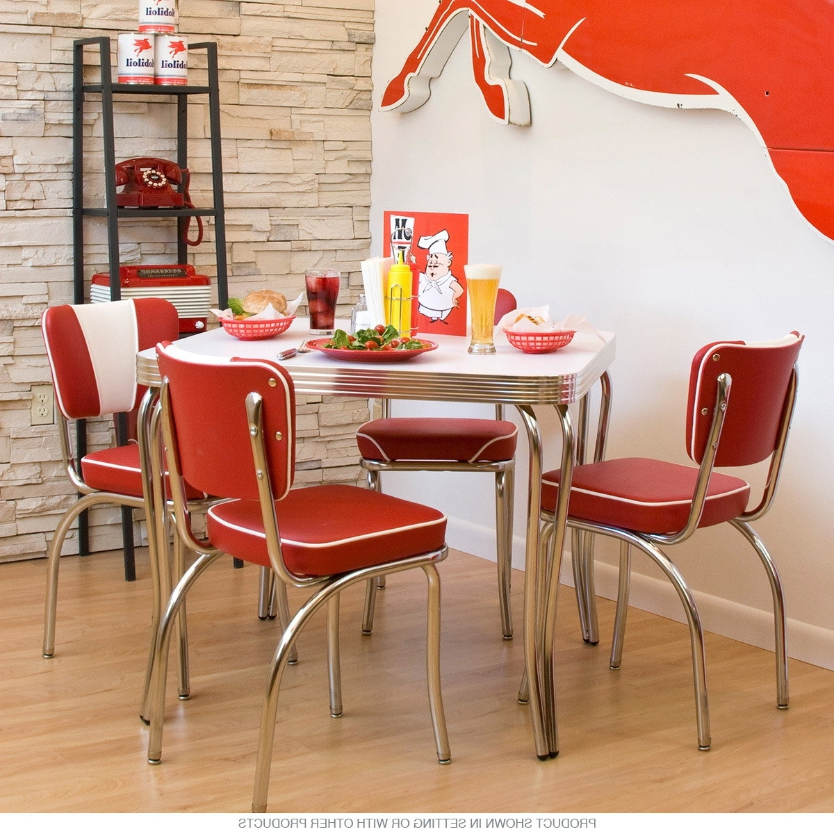 Most Up To Date Dinette Set Square Table With 4 Chairs At Retro Planet With Regard To Red Dining Table Sets (View 13 of 25)