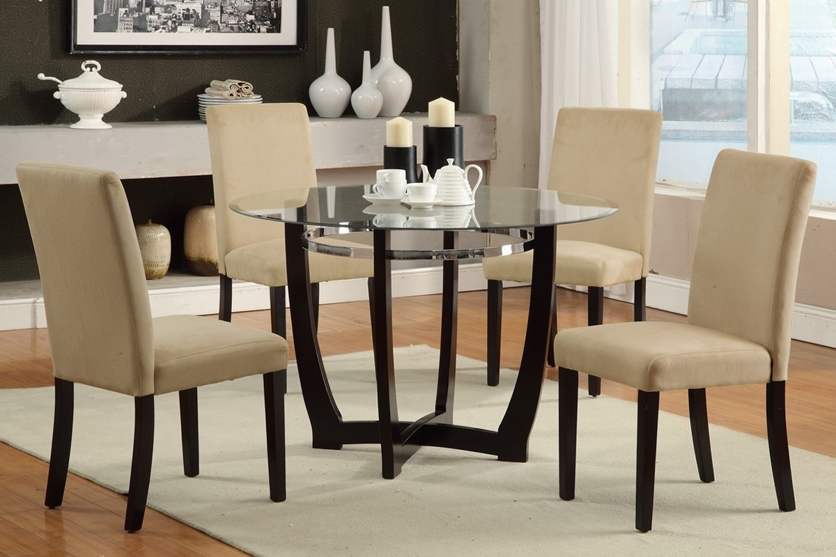 Most Up To Date Dining Room Dining Table With Black Glass Top Glass Dining Furniture With Small Round Dining Table With 4 Chairs (View 17 of 25)