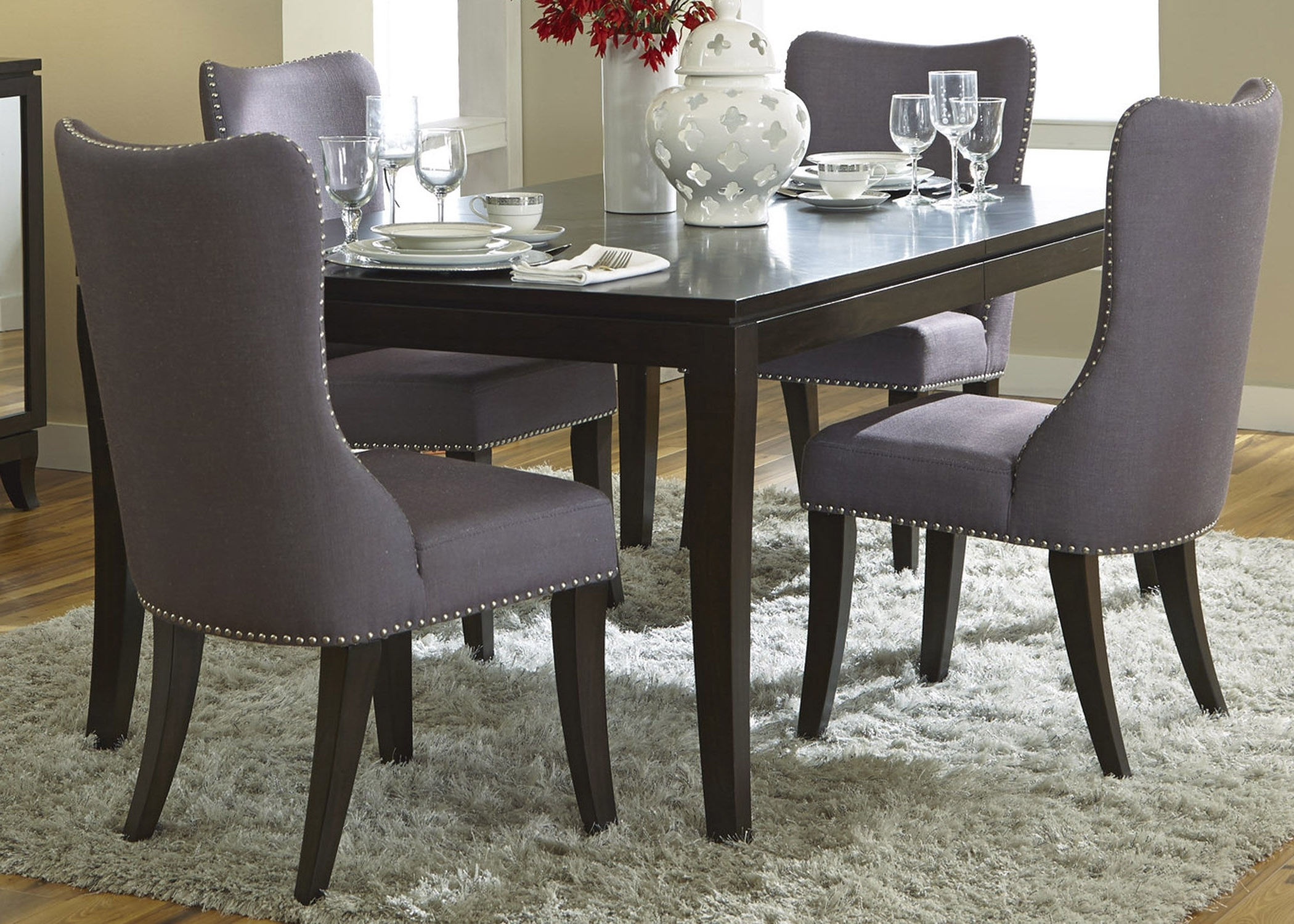 Most Up To Date Dining Table With Grey Fabric Chairs Home Interior Decor Rustic Wood With Regard To Dining Tables And Fabric Chairs (Gallery 4 of 25)
