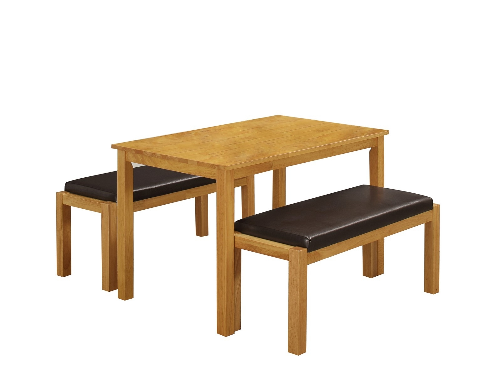 Most Up To Date Dining Tables And 2 Benches Inside Fenton Dining Table And 2 Faux Leather Topped Benches – Solid Wood (View 14 of 25)