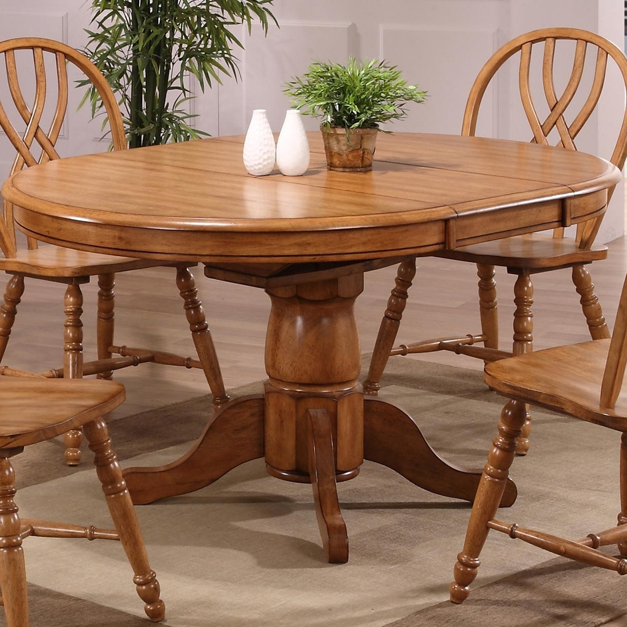 Most Up To Date E.c.i. Furniture Dining 2150 04 T/b Solid Oak Single Pedestal Dining Inside Pedestal Dining Tables And Chairs (Gallery 10 of 25)
