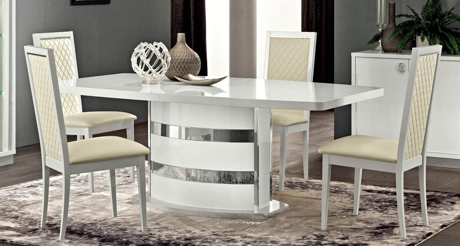 Most Up To Date Esf Esf Furniture Roma 7Pcs Dining Room Set In White – Roma With Regard To Roma Dining Tables And Chairs Sets (View 9 of 25)