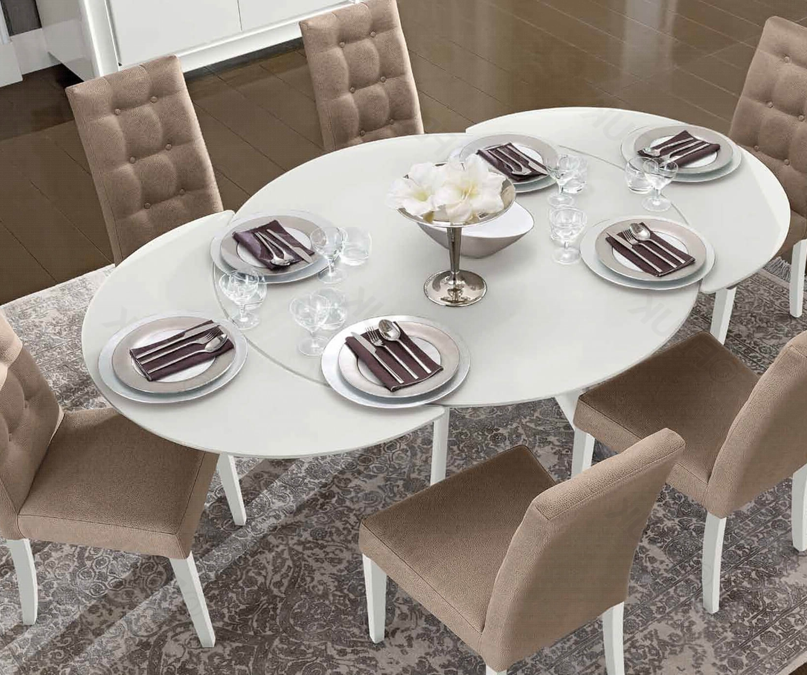 Most Up To Date Extendable Dining Table And 6 Chairs With Regard To Camel Group Dama Bianca (View 10 of 25)