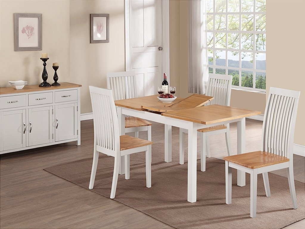 Most Up To Date Extending Dining Room Tables And Chairs Pertaining To Annaghmore – Hampshire Painted 4Ft Extending Dining Table And 4 Chairs (View 14 of 25)