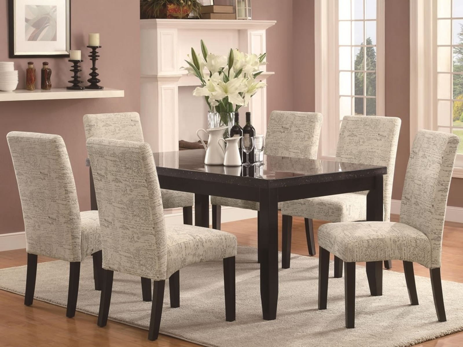 Most Up To Date Fabric Covered Dining Chairs Regarding Fancy Dining Room With Upholstered Dining Chair Also Wood Dining (View 8 of 25)