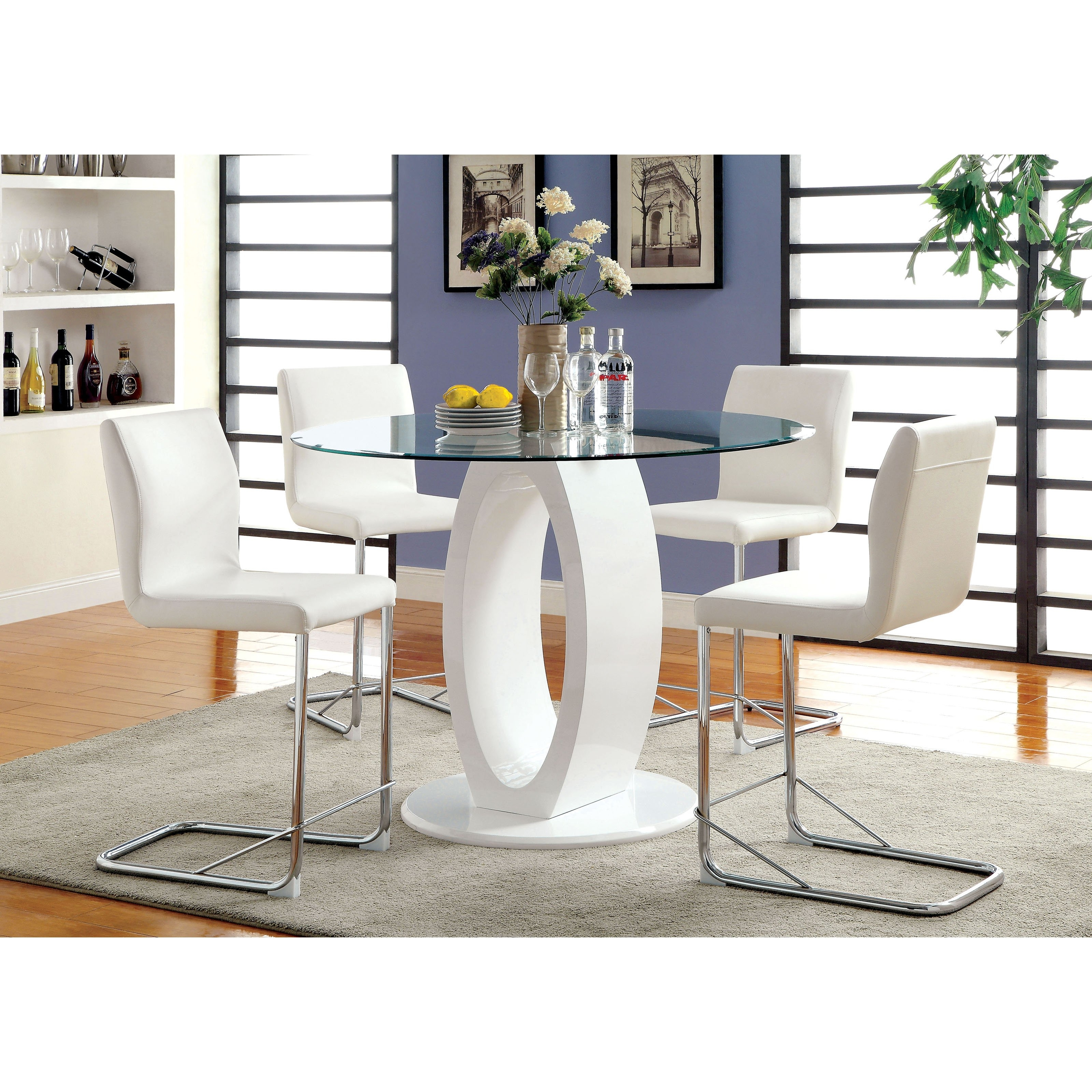 Most Up To Date Furniture Of America Damore Contemporary 5 Piece Counter Height High Intended For White High Gloss Oval Dining Tables (View 14 of 25)