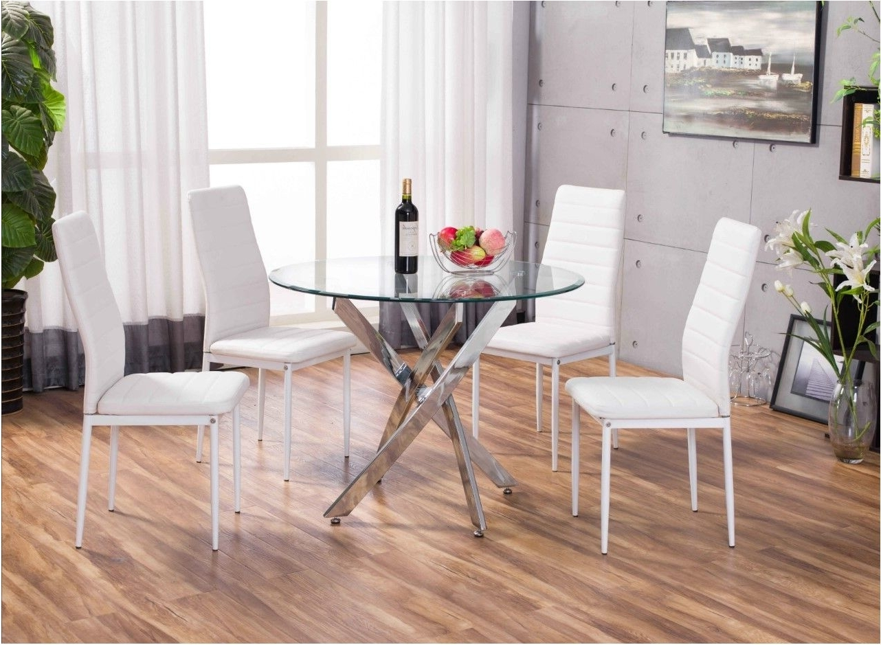 Most Up To Date Glass And Chrome Dining Tables And Chairs Pertaining To Breathtaking White Novara Chrome Round Glass Dining Table Set (View 18 of 25)