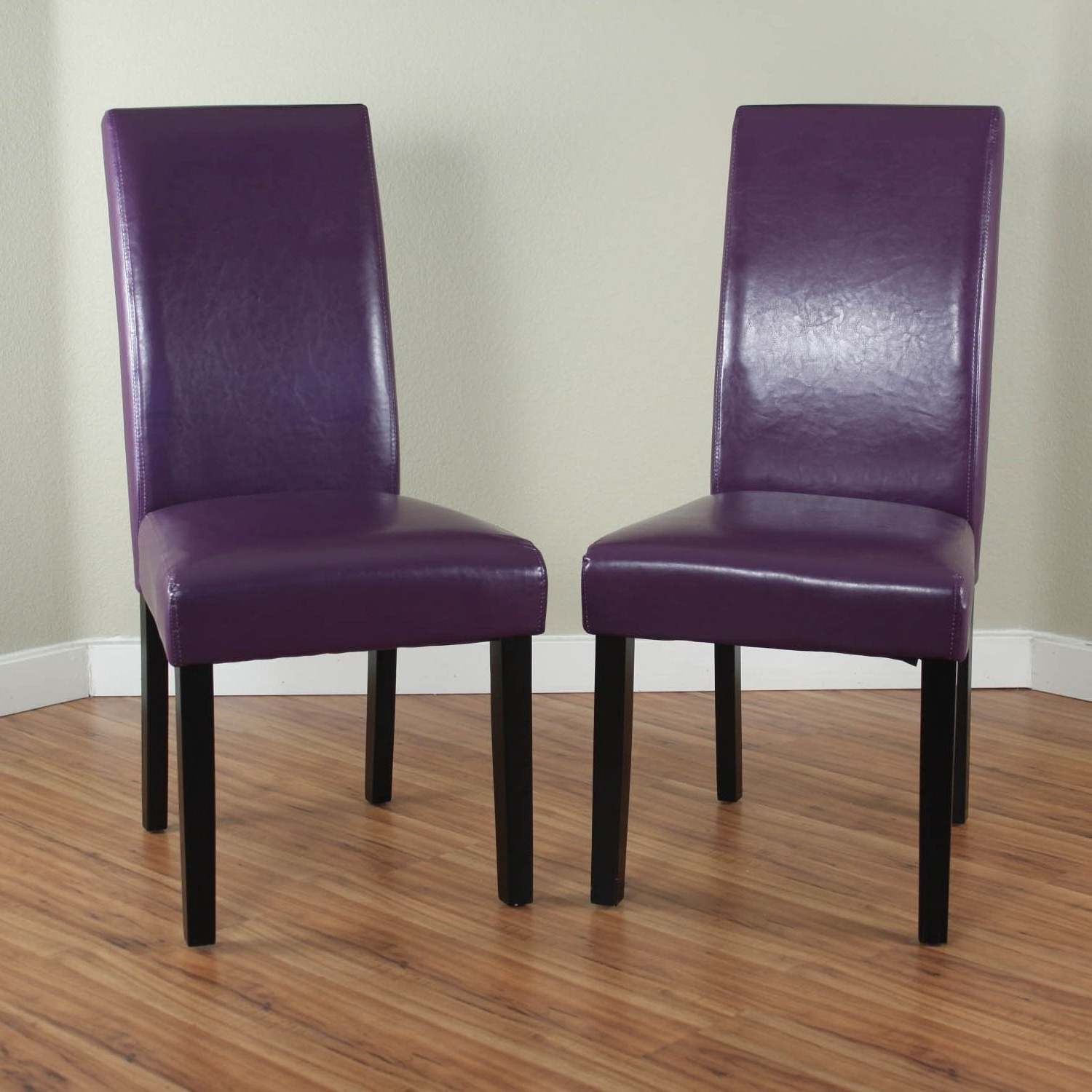 Most Up To Date Go Beyond Ordinary Design With A Pair Of Villa Purple Faux Leather With Purple Faux Leather Dining Chairs (Gallery 2 of 25)
