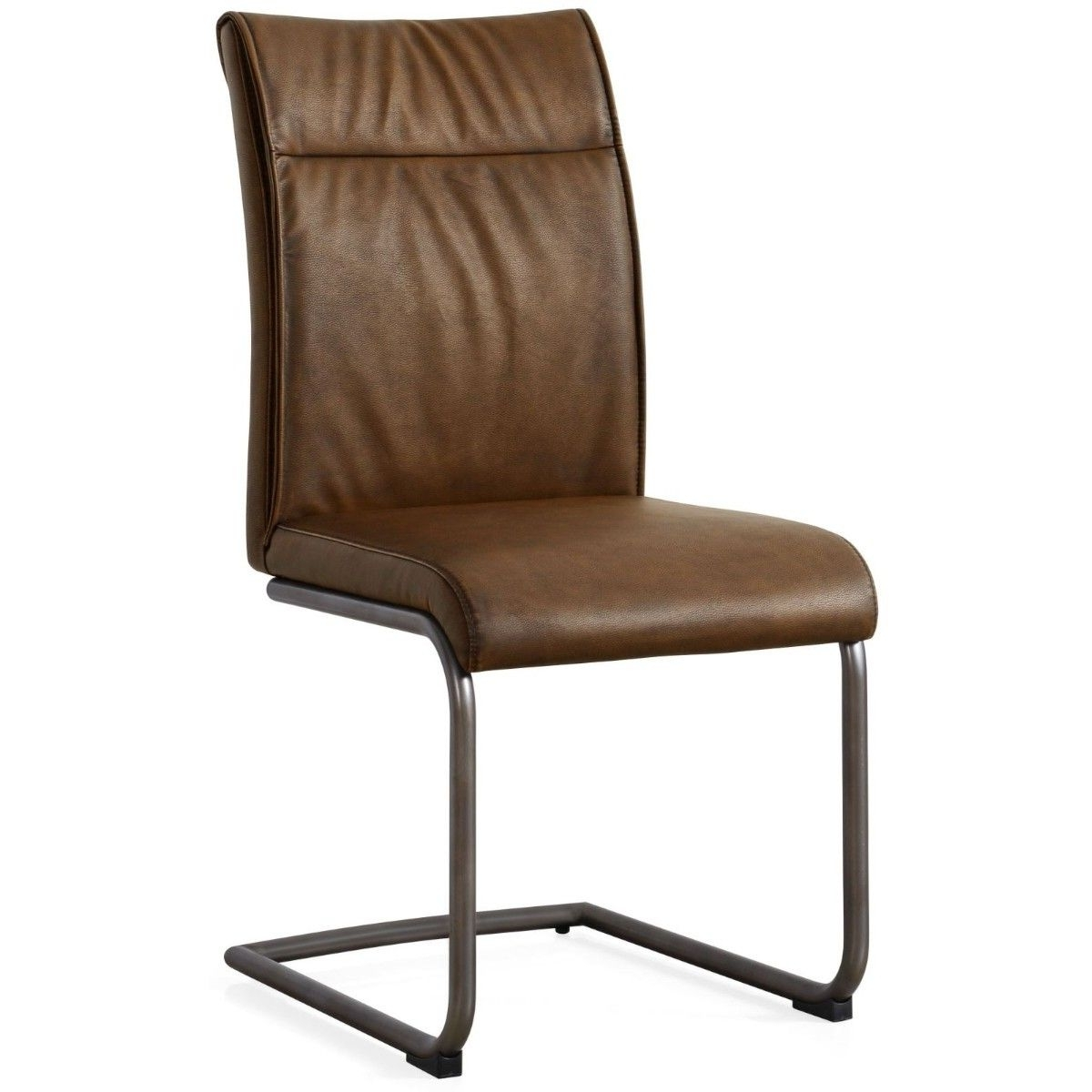 Most Up To Date High Back Leather Dining Chairs Regarding Hutch – Industrial High Back Dining Chair Brown Leather (View 9 of 25)