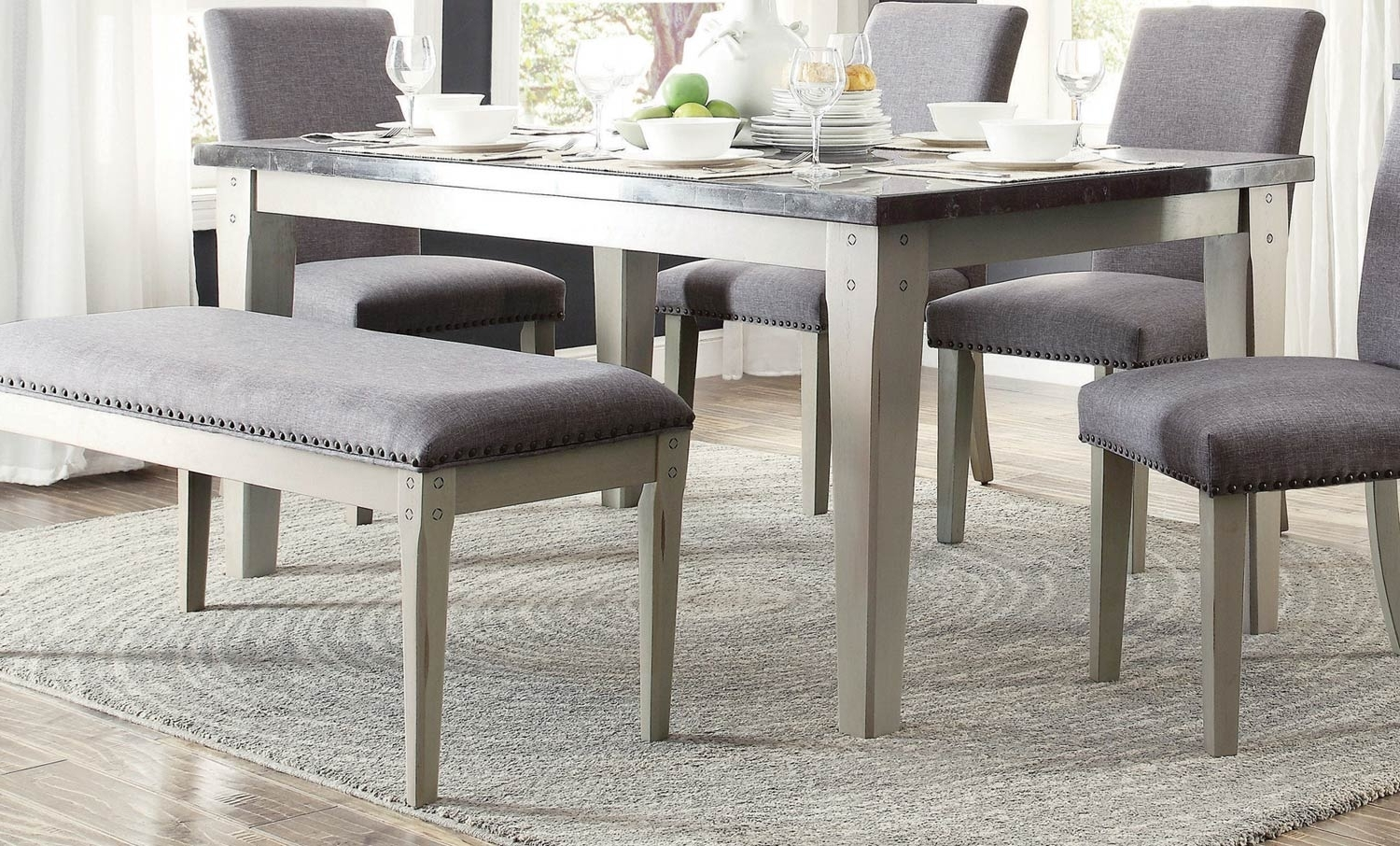 Most Up To Date Homelegance Mendel Dining Table  Bluestone Marble Top – Grey 5280 64 Pertaining To Grey Dining Tables (Gallery 12 of 25)