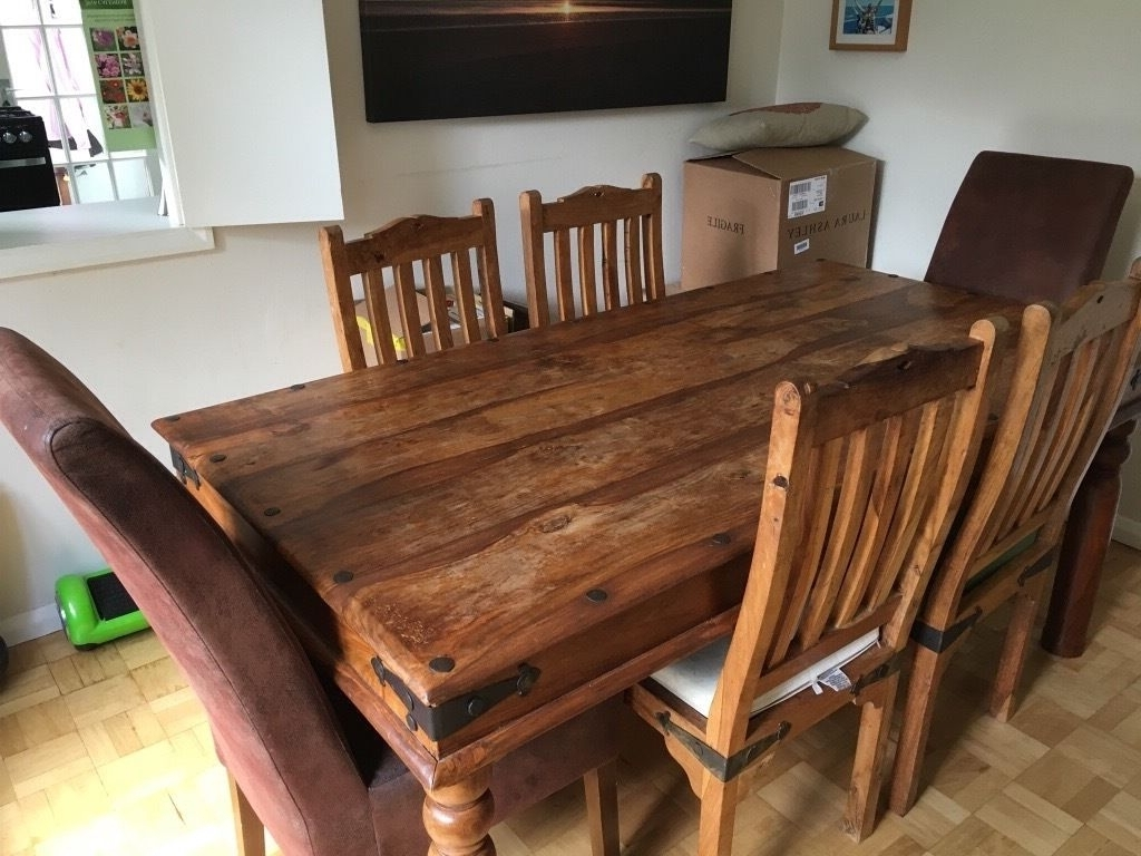 Most Up To Date Indian Wood Dining Tables Pertaining To Indian Hardwood Dining Table Dining Table And 6 Chairs, Indian Style (View 14 of 25)