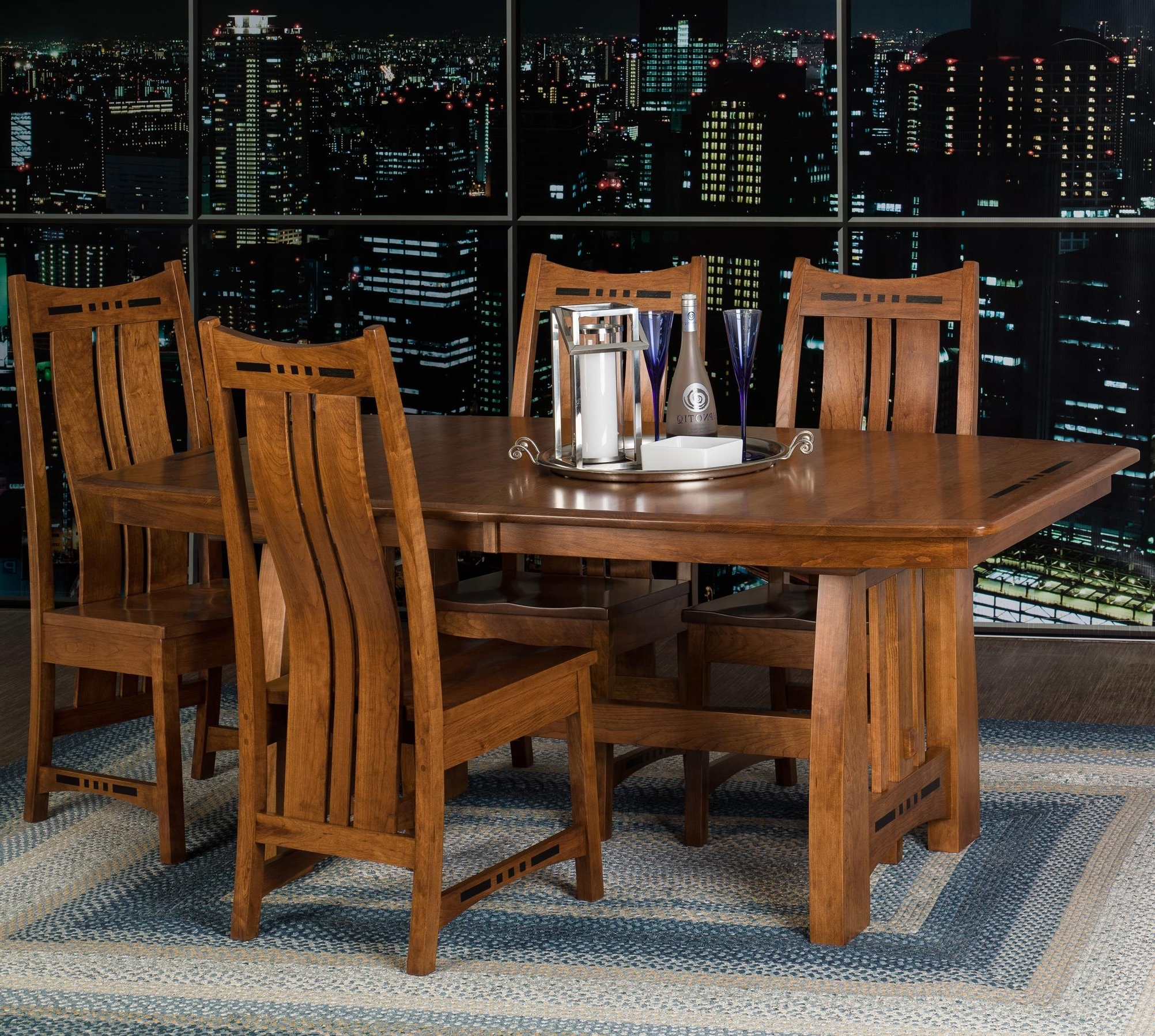 Most Up To Date Indiana Amish Owen Table + 4 Chairs (View 17 of 25)