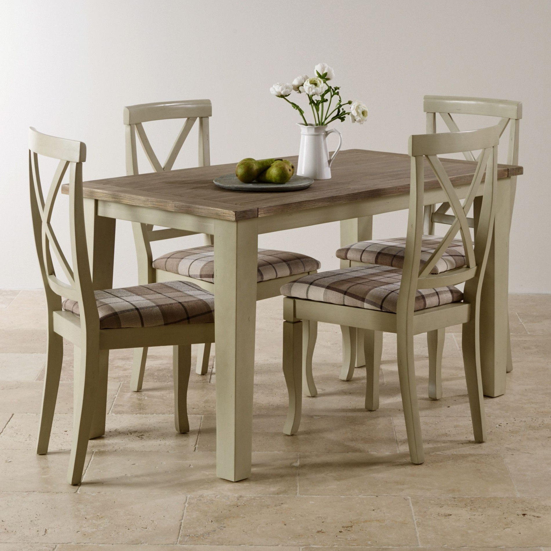 Most Up To Date Isabella Dining Tables For Isabella Brushed Acacia And Painted Dining Set – 4Ft Table With  (View 21 of 25)