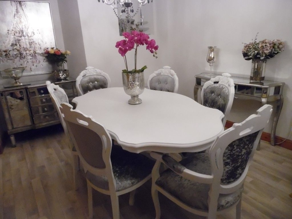 Most Up To Date Italian Dining Tables In White Italian Dining Table & 6 Louis Style Chairs In Silver/grey (View 18 of 25)