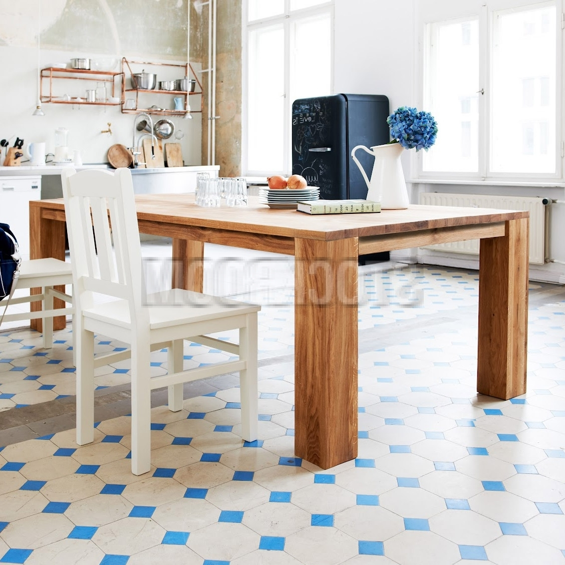 Most Up To Date Jacob Chunky Solid Oak Wood Dining Table Set – 180Cm (View 18 of 25)