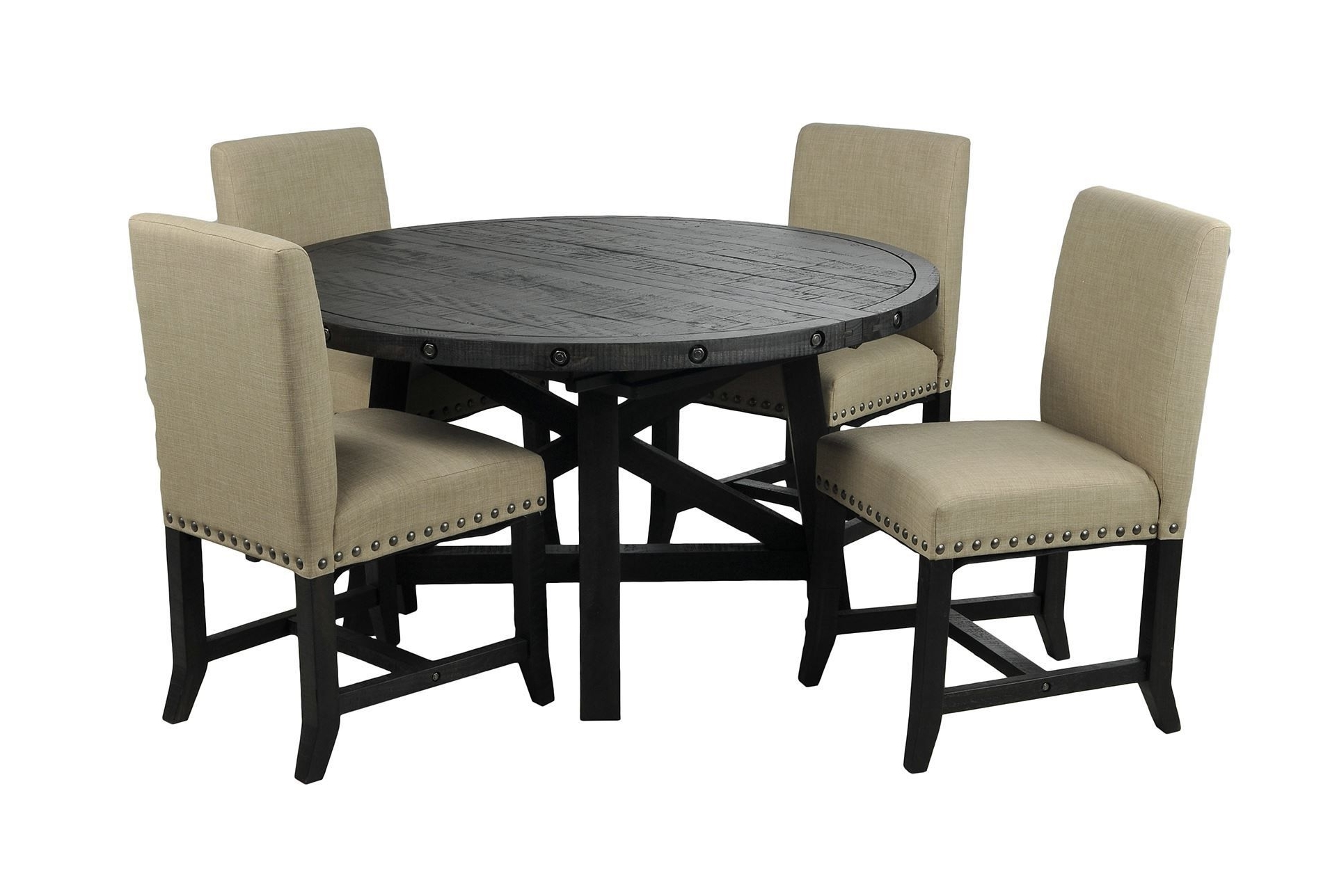Most Up To Date Jaxon 5 Piece Round Dining Set W/upholstered Chairs (Gallery 1 of 25)