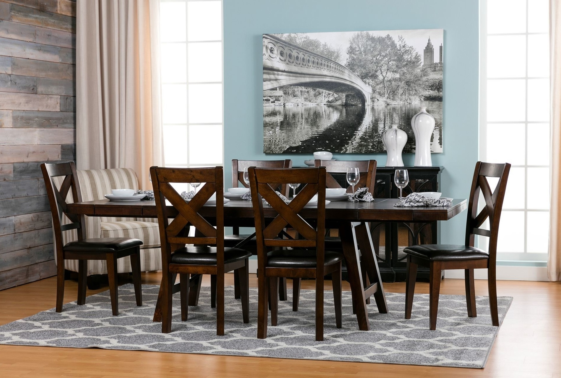 Most Up To Date Jaxon Grey 7 Piece Rectangle Extension Dining Sets With Wood Chairs Within Tables, Chairs, & Servers – Hello Furniture (View 17 of 25)