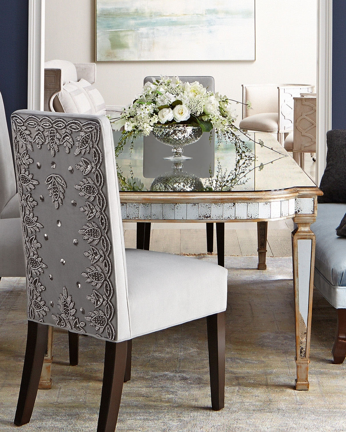 """Most Up To Date John Richard Collection Eliza 96""""l Antiqued Mirrored Dining Table For Mirrored Dining Tables (View 16 of 25)"""
