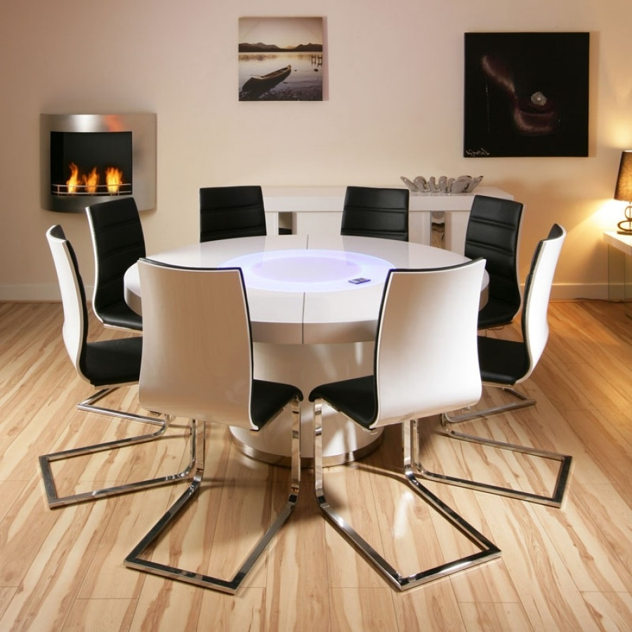 Most Up To Date Large Round White Gloss Dining Table & 8 White / Black Dining Chairs Throughout Gloss Dining Set (View 9 of 25)