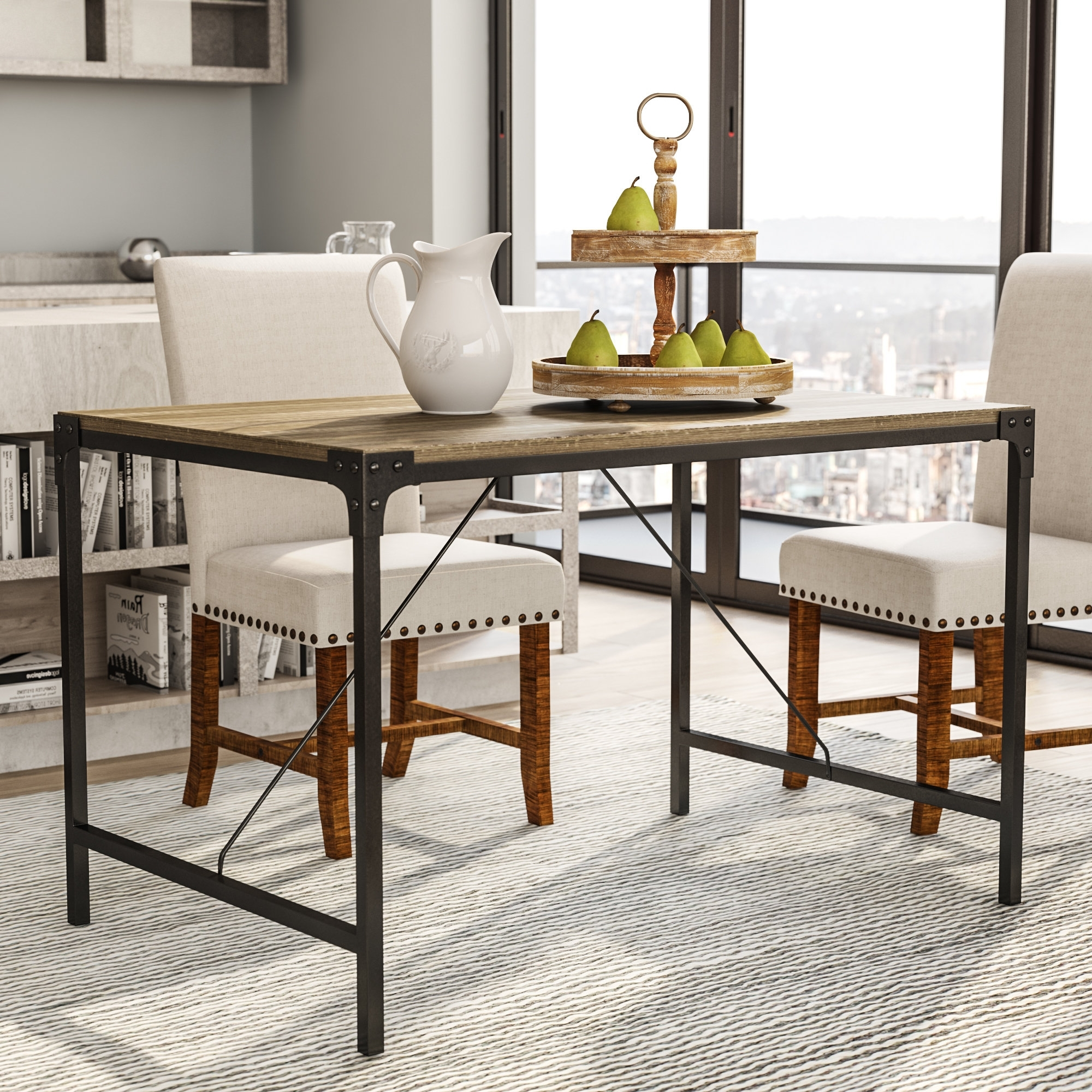 Most Up To Date Laurel Foundry Modern Farmhouse Madeline Angle Iron And Wood Dining Pertaining To Iron And Wood Dining Tables (View 18 of 25)