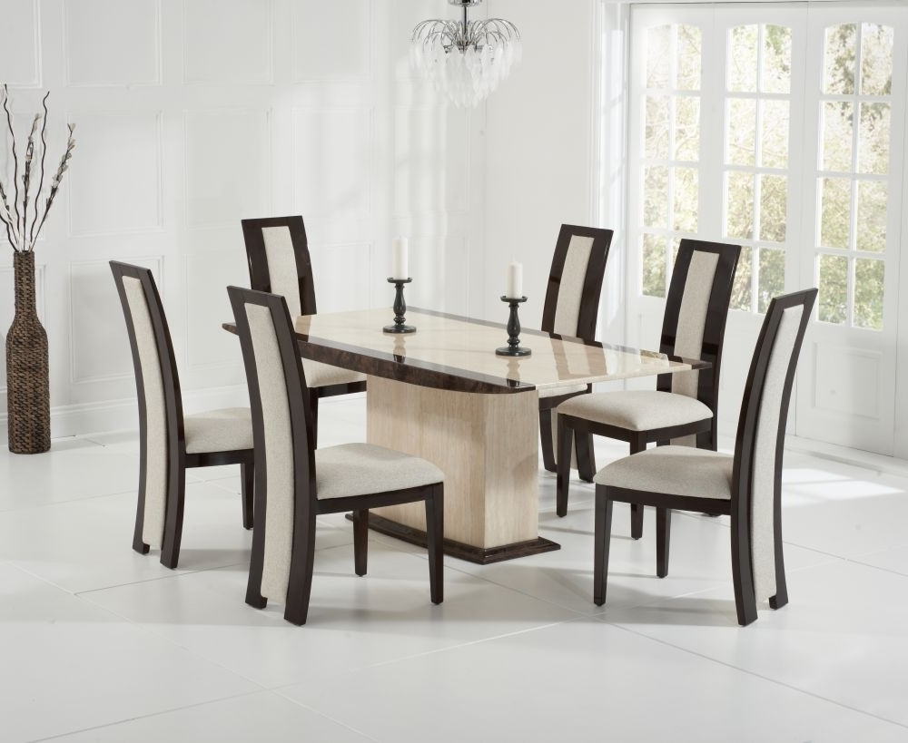 Most Up To Date Lucca Cream And Brown 180Cm Marble Dining Set With 4 Bonaire Brown Throughout Marble Dining Chairs (View 7 of 25)