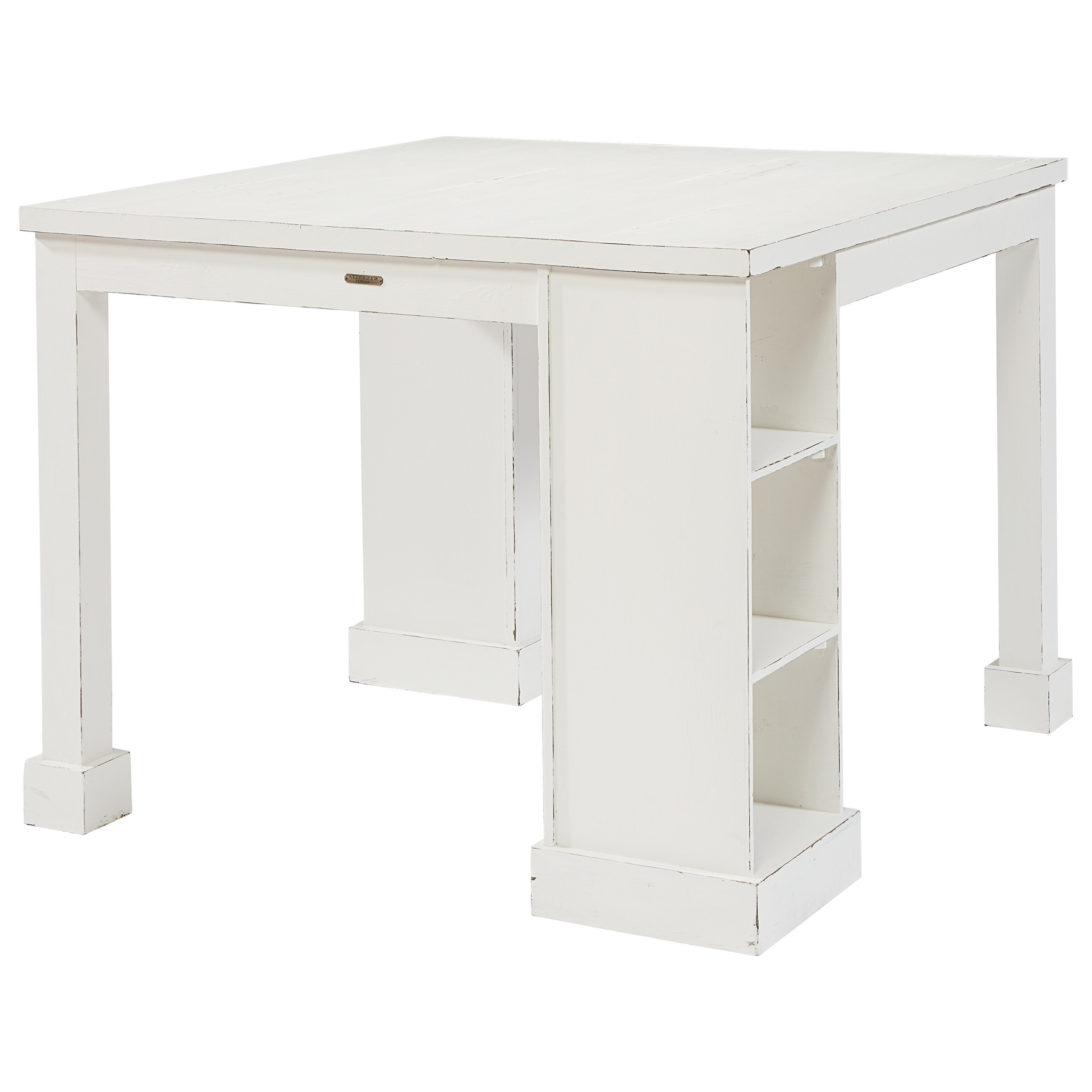 Most Up To Date Magnolia Home Taper Turned Jo's White Gathering Tables Within Craft Table With Corner Storage And Cubby Shelvesmagnolia Home (View 17 of 25)
