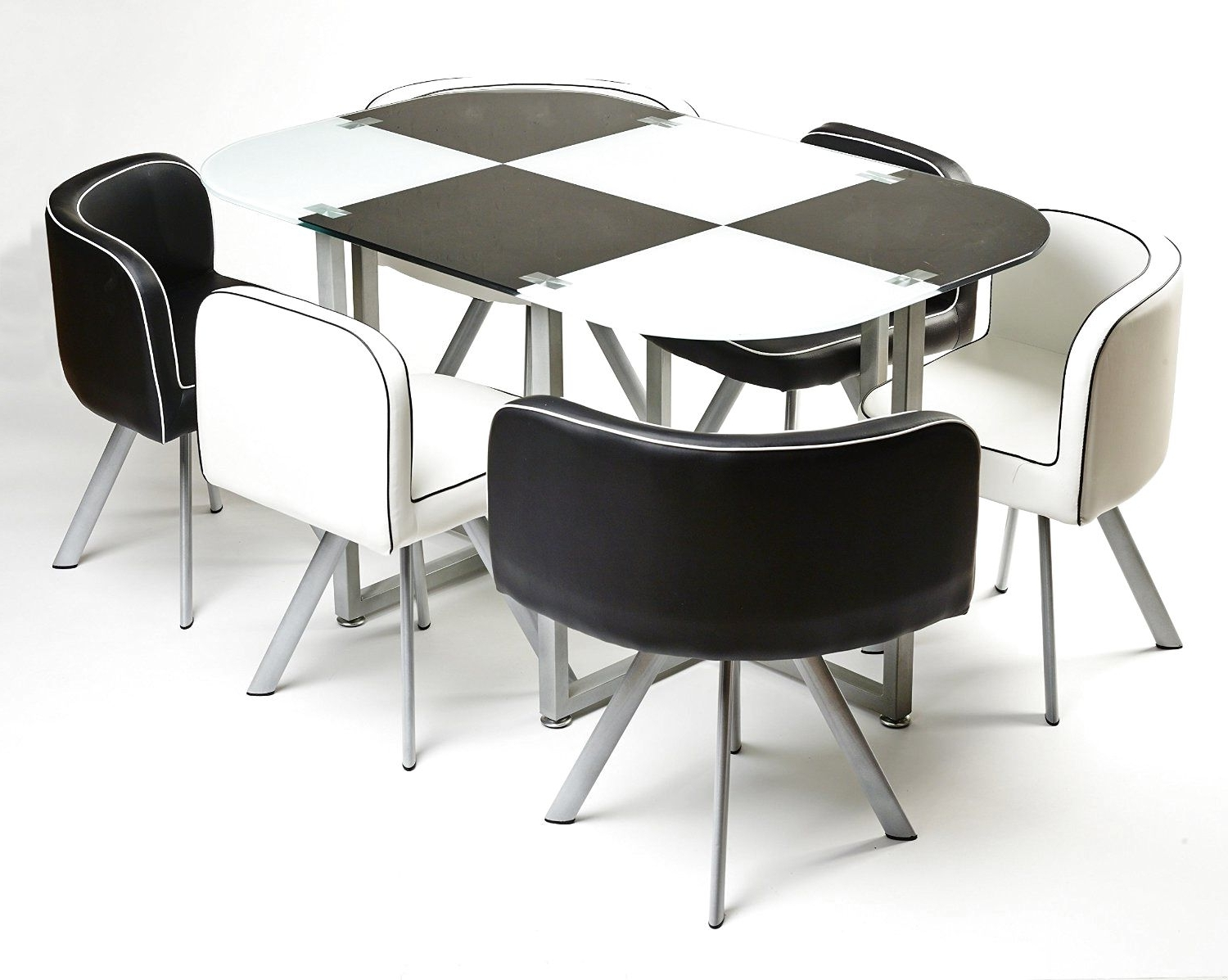 Most Up To Date Modern Black And White Melamine Dining Table Using Silver Metal Intended For White Melamine Dining Tables (View 12 of 25)