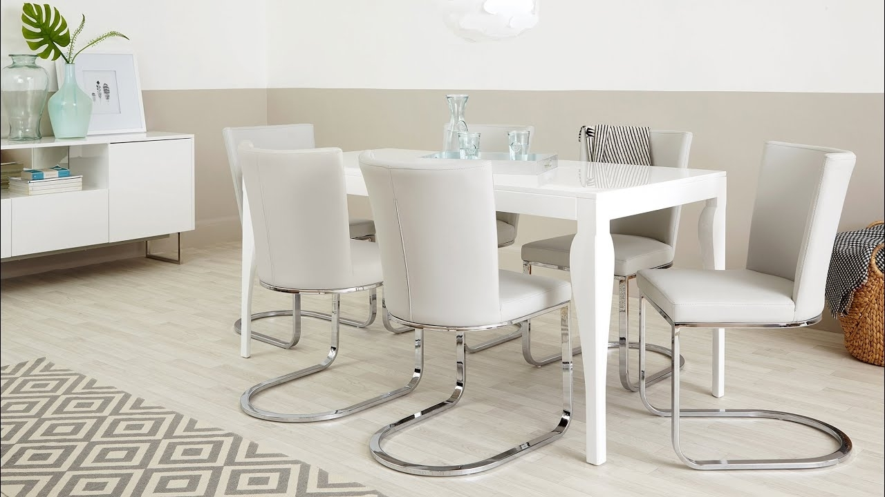 Most Up To Date Modern White Gloss Dining Table And Designer Chairs – Youtube Throughout White Gloss Dining Room Tables (View 7 of 25)