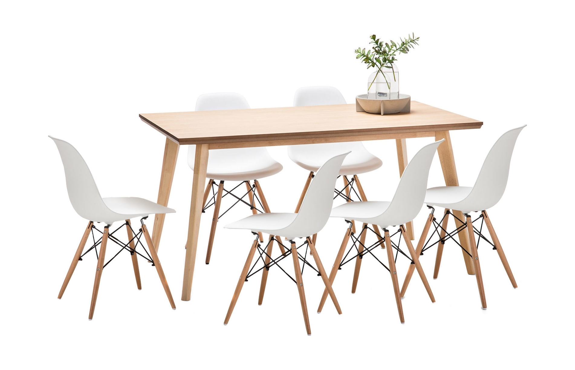Most Up To Date New Wyatt Dining Table Set With 6 Replica Eames Chairs (View 16 of 25)