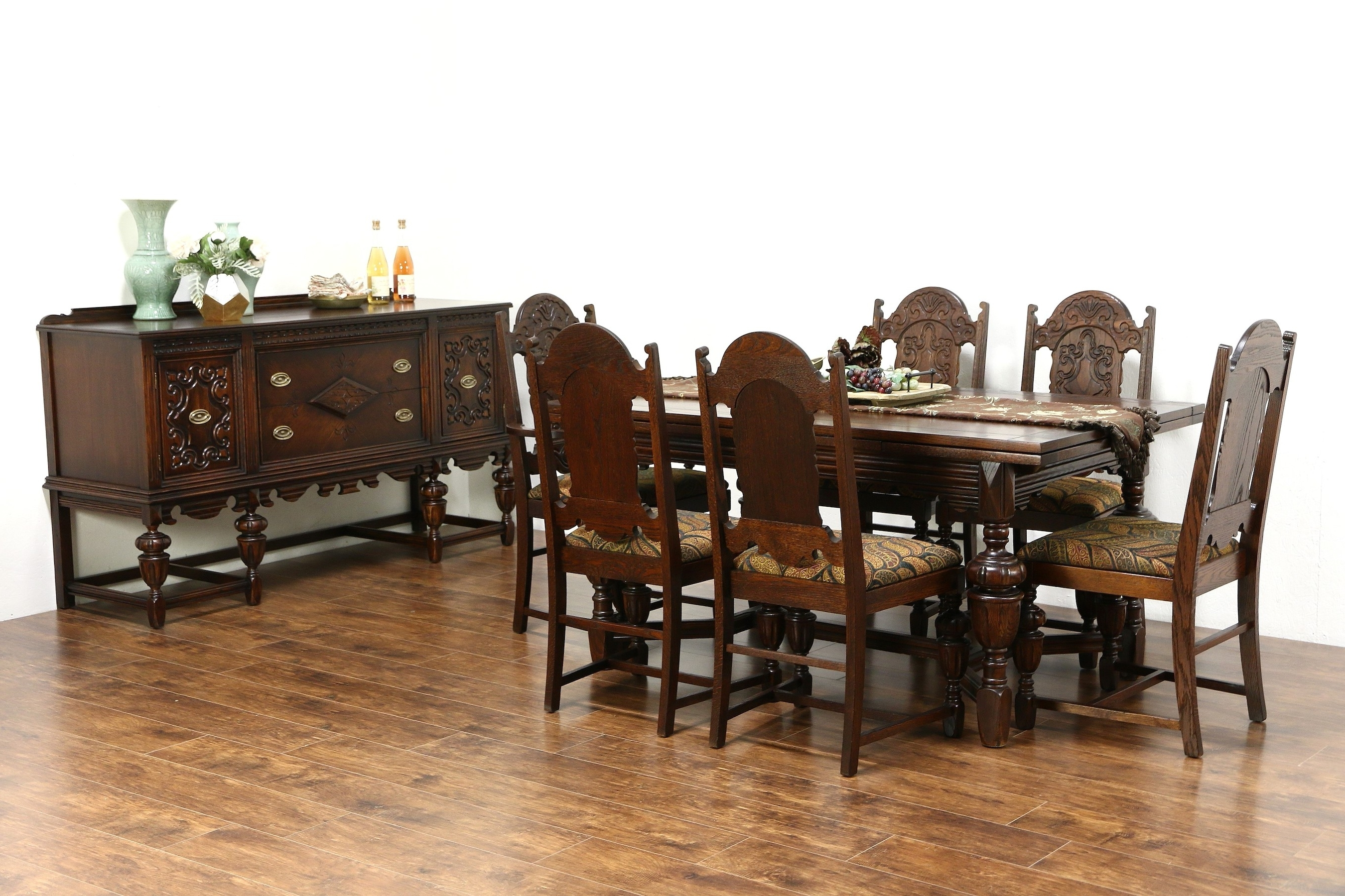 Most Up To Date Oak Dining Set 6 Chairs With Sold – English Tudor 1920 Antique Oak Dining Set, Table, 6 Chairs (View 25 of 25)