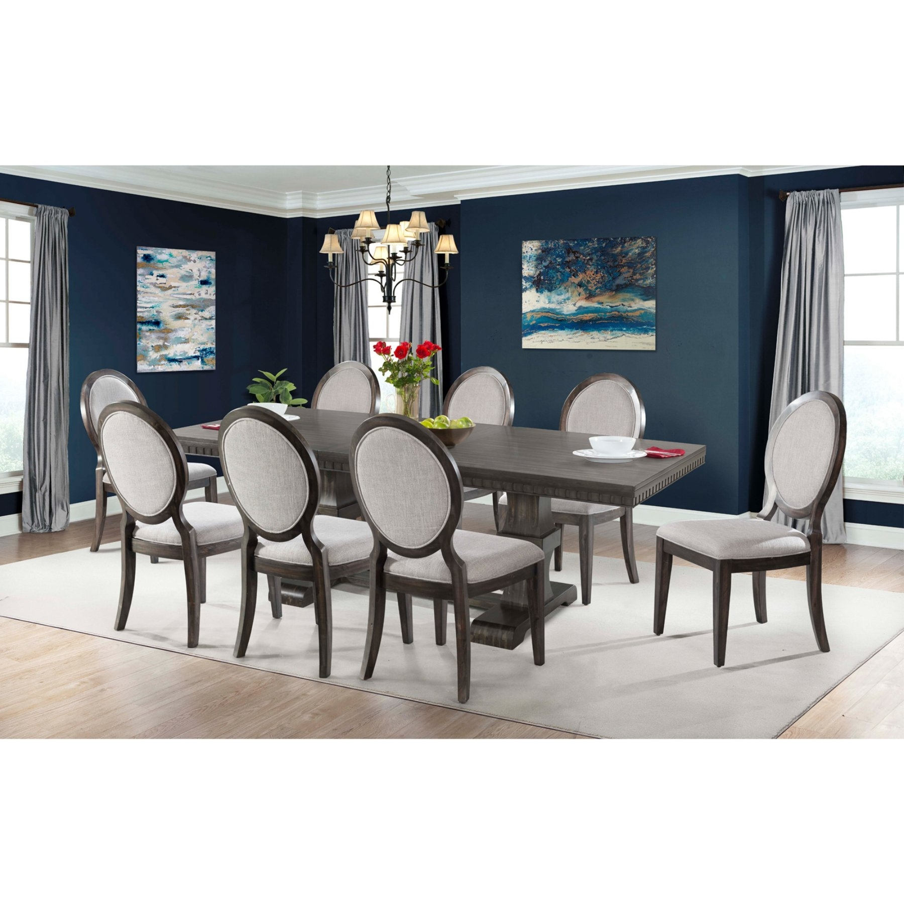 Most Up To Date Picket House Furnishings Steele 9 Piece Extension Dining Table Set With Regard To Candice Ii 7 Piece Extension Rectangular Dining Sets With Uph Side Chairs (View 17 of 25)