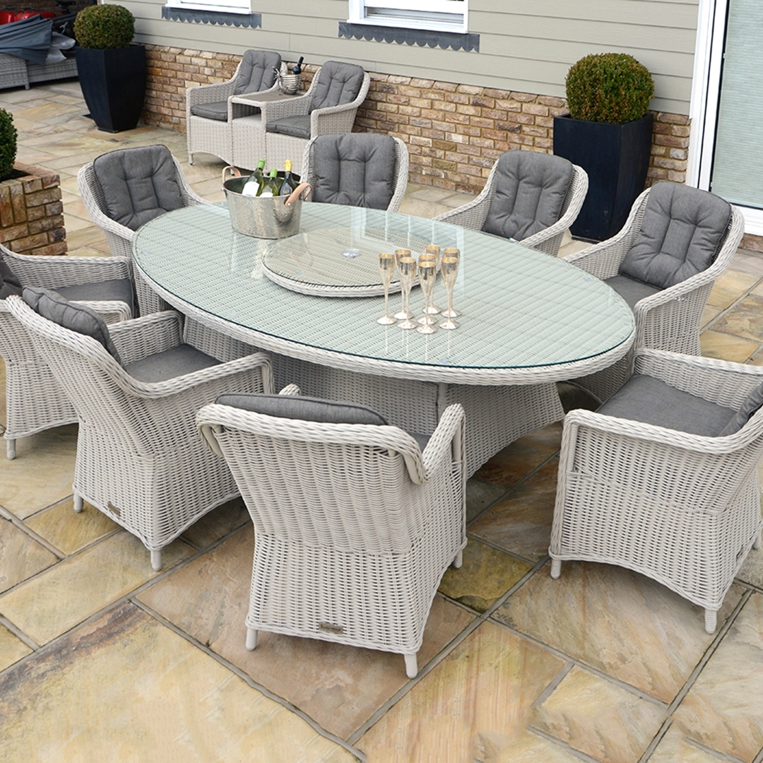 Most Up To Date Rattan Dining Tables Throughout Kensington Deluxe 230X135Cm Oval Table With 8 Henley Dining (View 8 of 25)