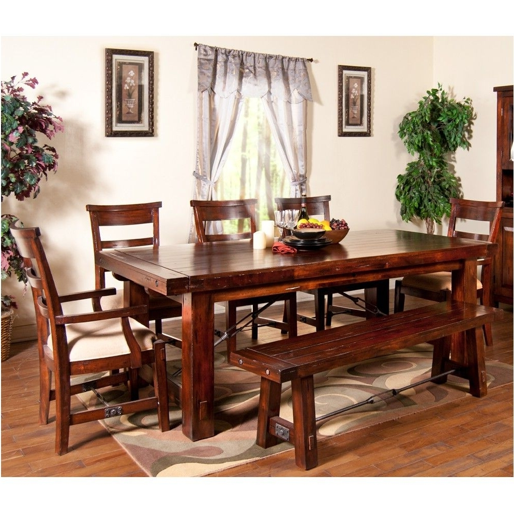 Most Up To Date Rectangular Dining Tables Sets With Regard To Awesome Vineyard Wood Rectangular Dining Table Chairs In Rustic (View 13 of 25)