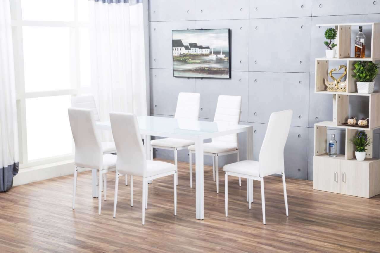 Most Up To Date Roma Rectangle Glass Dining Table Set And 6 White Faux Leather With Roma Dining Tables And Chairs Sets (View 11 of 25)