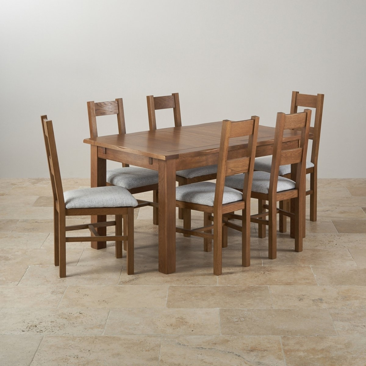 Most Up To Date Rushmere Dining Set In Rustic Oak Extending Table 6 Chairs Black Regarding Oak Extending Dining Tables And 6 Chairs (View 19 of 25)