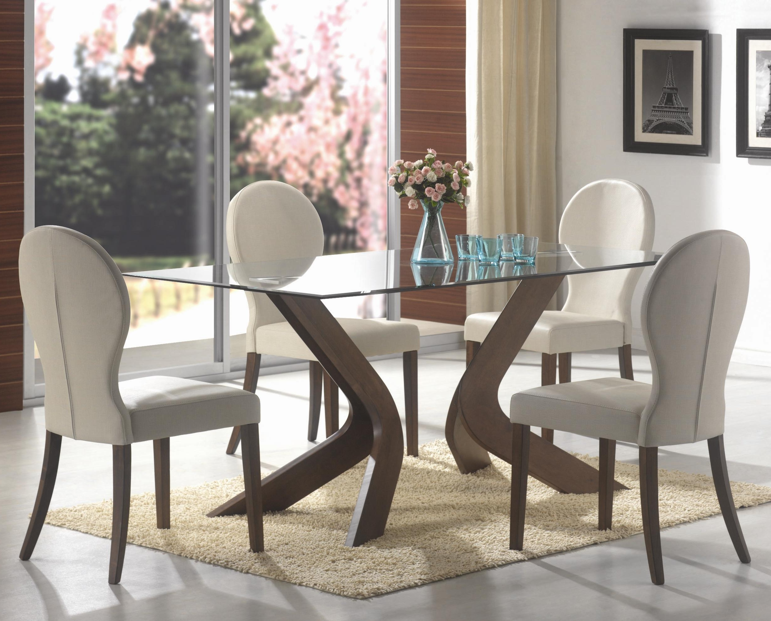 Most Up To Date San Vicente Glass Top Rectangular Dining Table In Rectangular Dining Tables Sets (View 14 of 25)