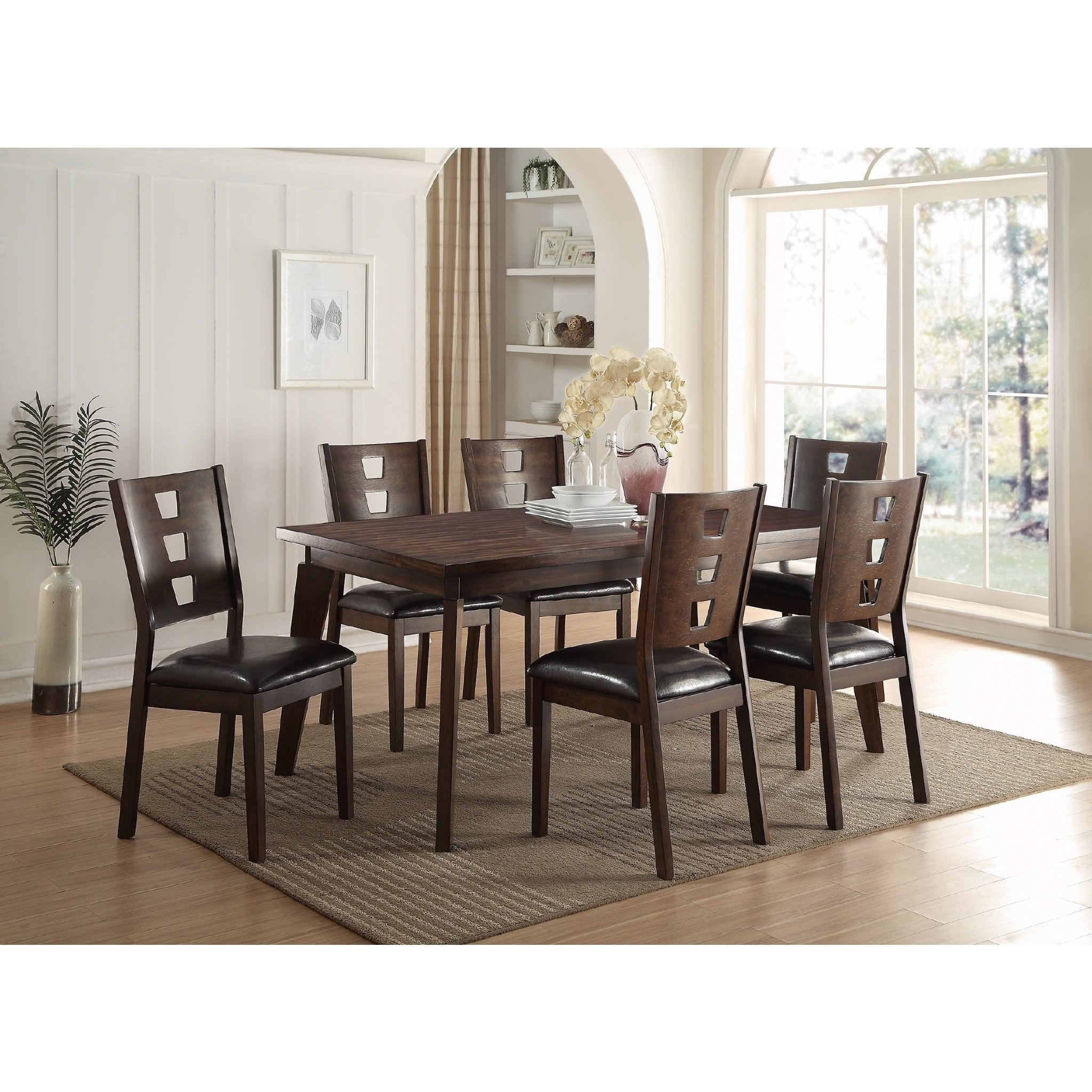 Most Up To Date Shop Joey 7 Piece Dining Set – Free Shipping Today – Overstock Pertaining To Caira Black 5 Piece Round Dining Sets With Upholstered Side Chairs (View 10 of 25)