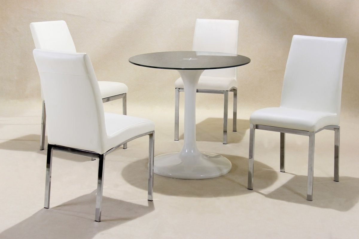Most Up To Date Small Round White High Gloss Glass Dining Table And 4 Chairs In Small White Dining Tables (View 7 of 25)