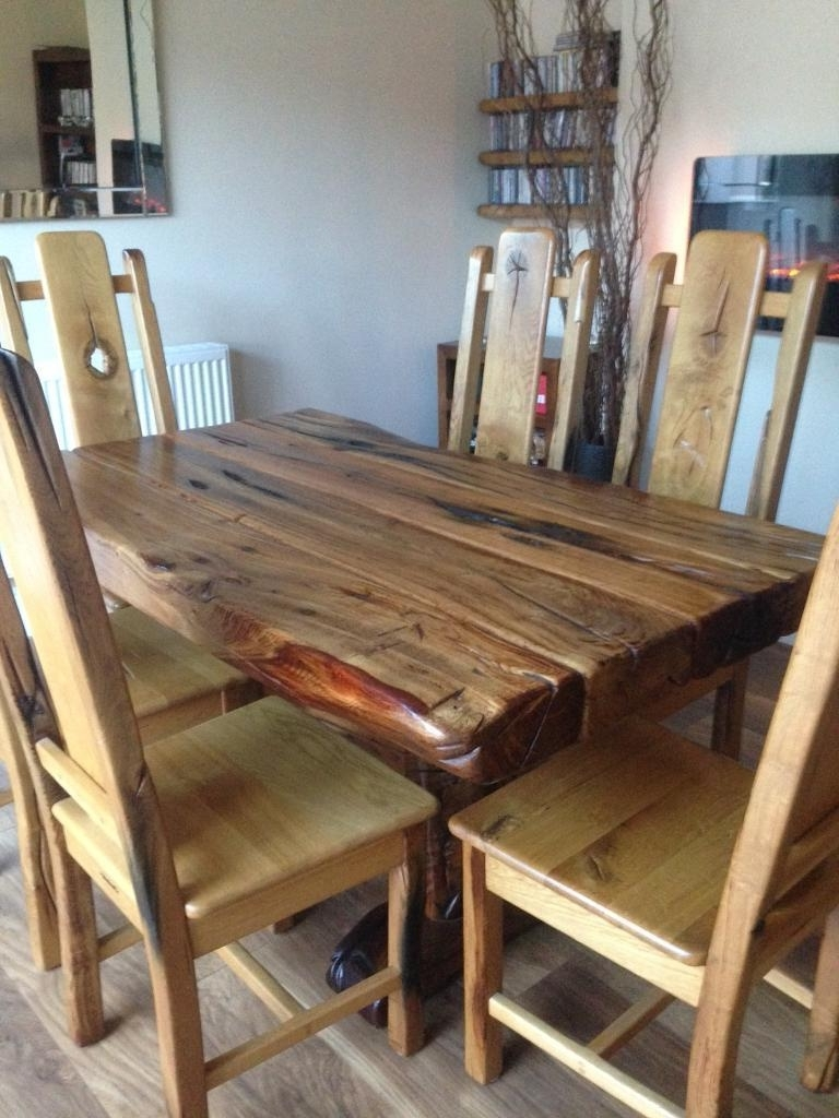 Most Up To Date Solid Oak Sleeper Dining Table & Chairs (View 13 of 25)