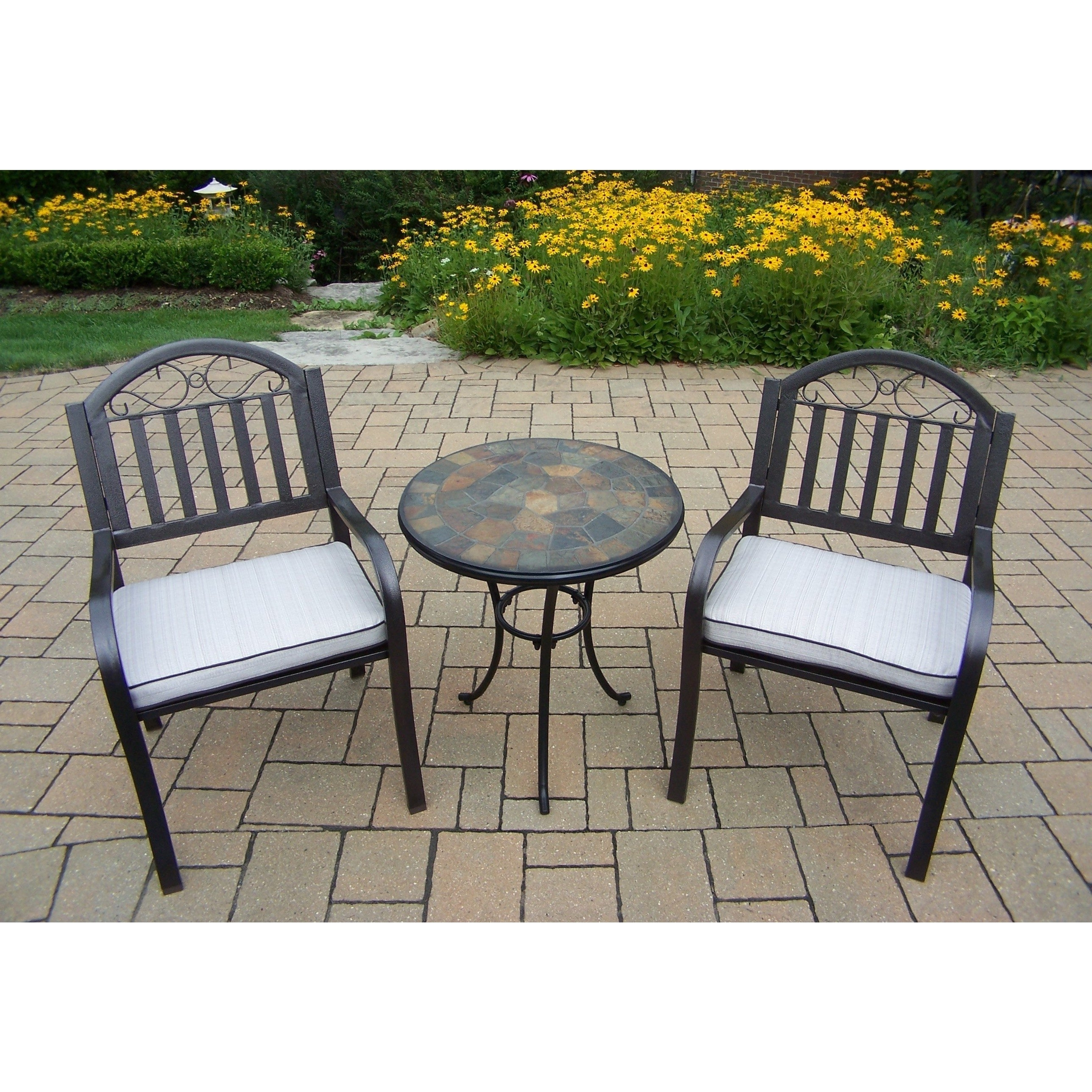 Most Up To Date Valencia 3 Piece Counter Sets With Bench For Shop Hometown 3 Pc Stone Bistro Set With 2 Cushioned Chairs And (View 16 of 25)